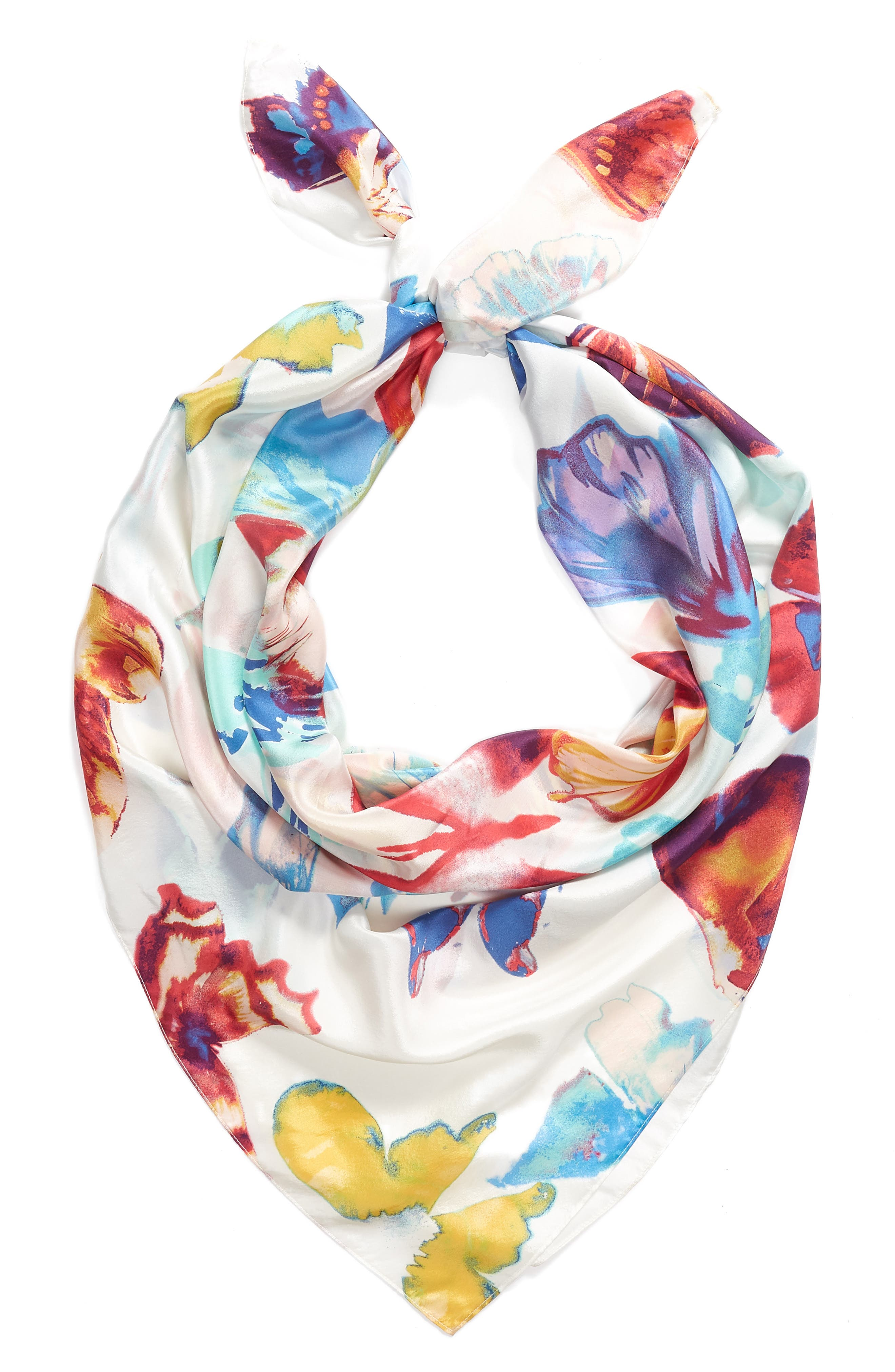 Print Silk Square Scarf,                             Alternate thumbnail 2, color,                             White Butterfly Burst