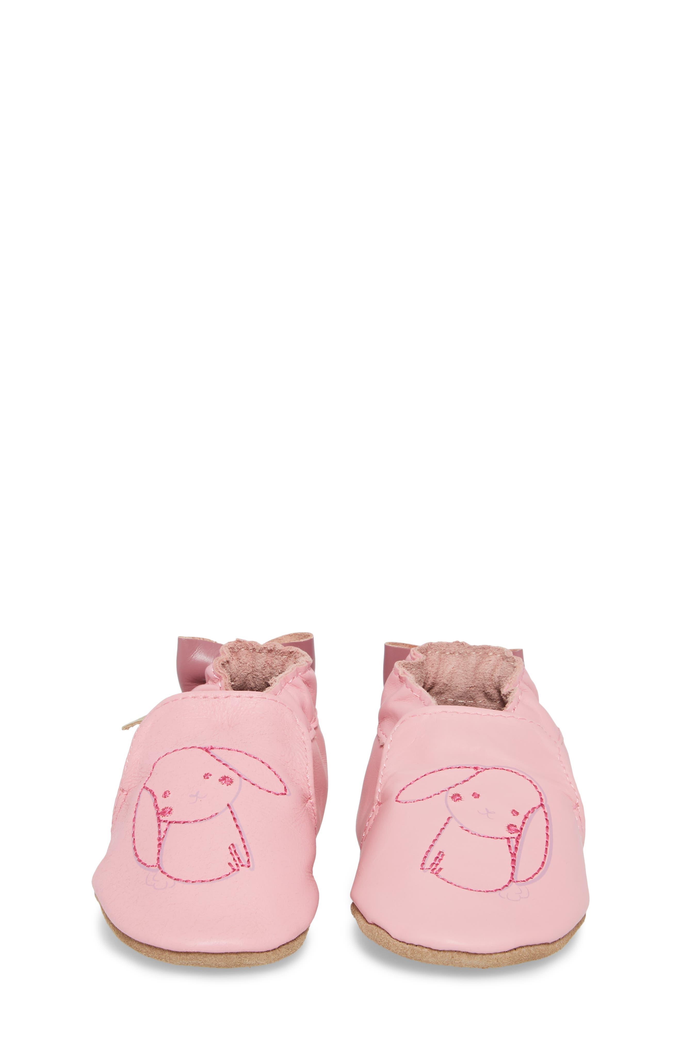 Sweet Bunny Moccasin Crib Shoe,                             Alternate thumbnail 5, color,                             Pastel Pink