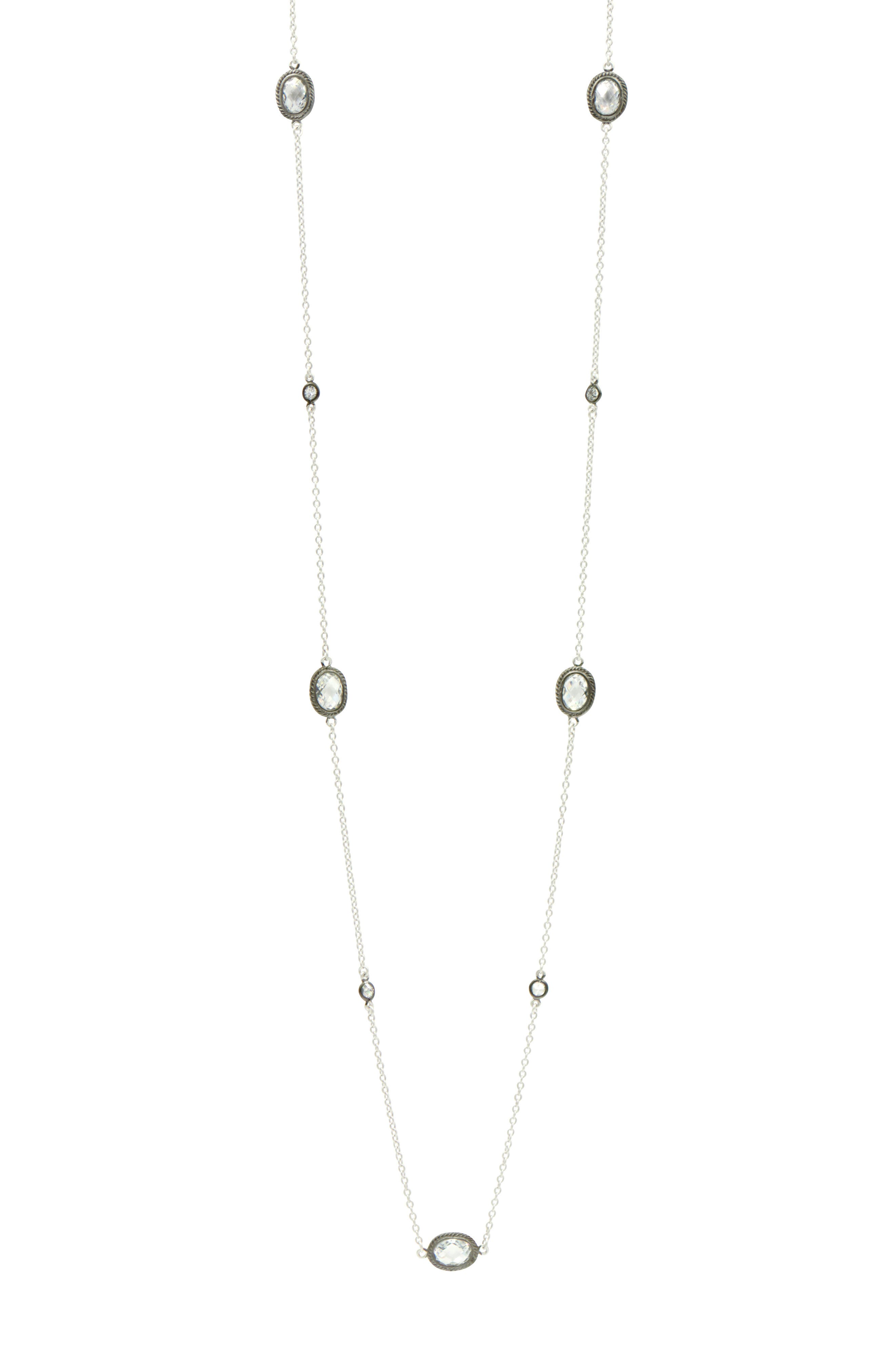 Signature Raindrop Station Necklace,                         Main,                         color, Black/ Silver