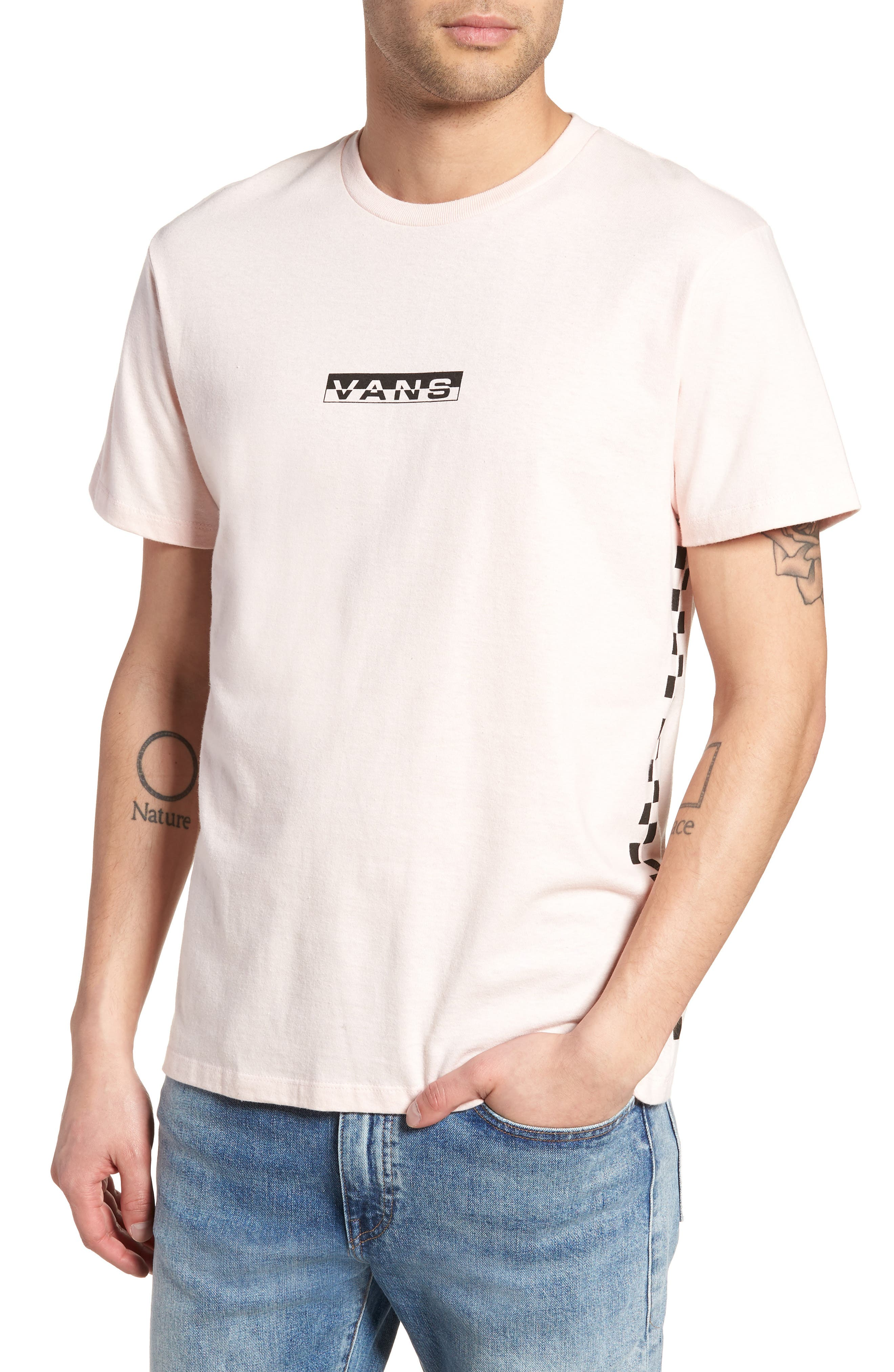 Classic Checkmate T-Shirt,                             Main thumbnail 1, color,                             Dull Rose