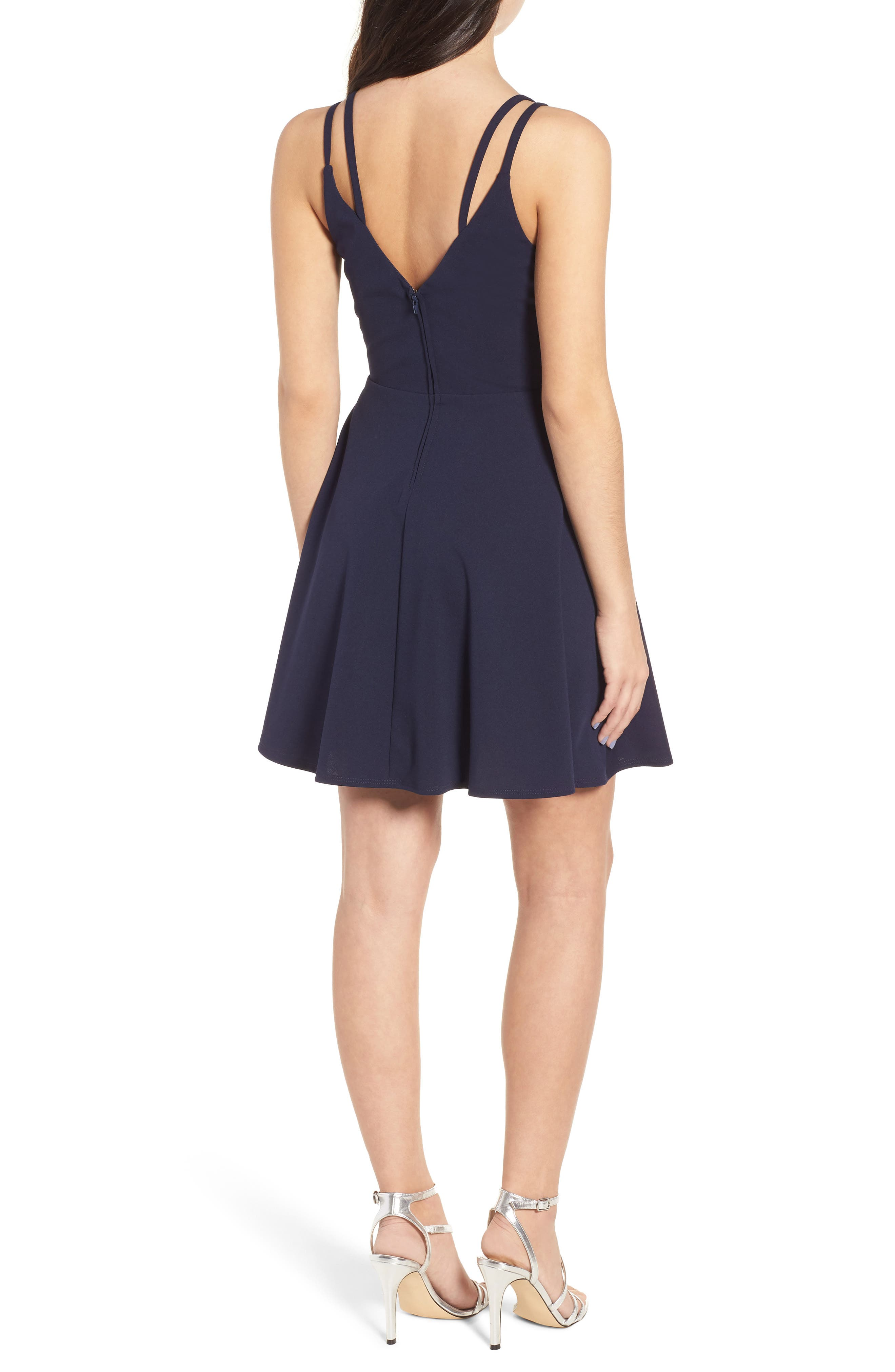 Lace-Up Skater Dress,                             Alternate thumbnail 2, color,                             Midnight