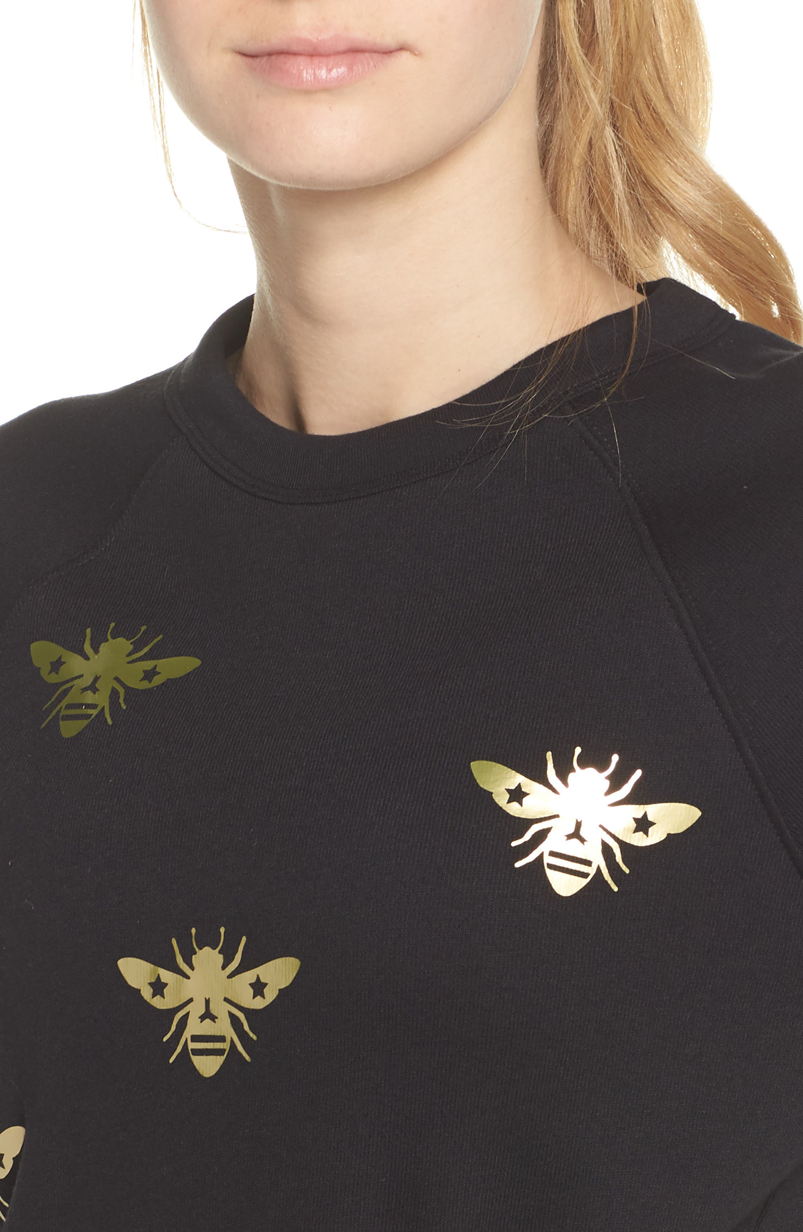 Bee Sweatshirt,                             Alternate thumbnail 4, color,                             Nero/ Gold