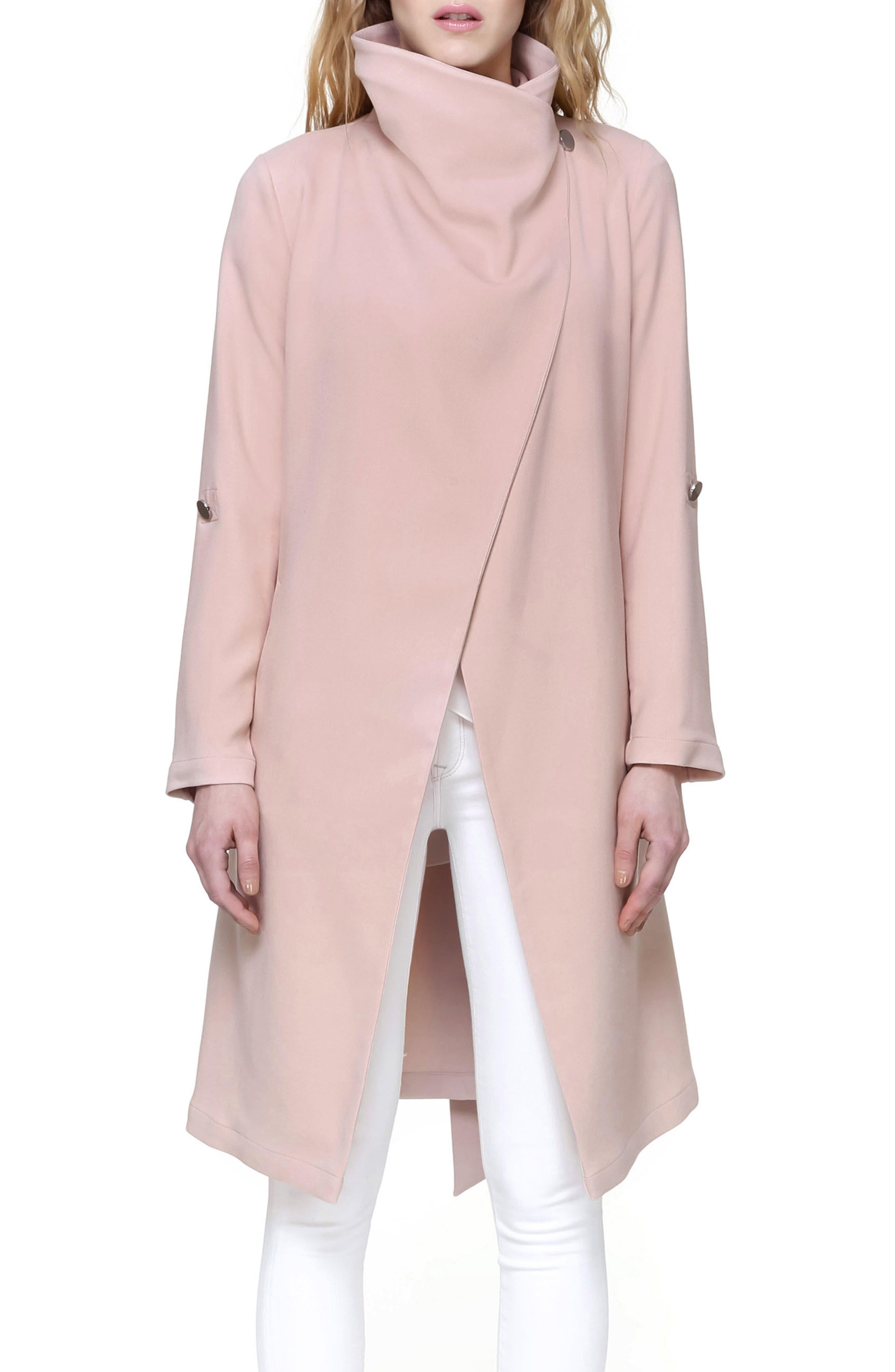 Roll Sleeve Drape Front Long Trench Coat,                             Alternate thumbnail 4, color,                             Blush