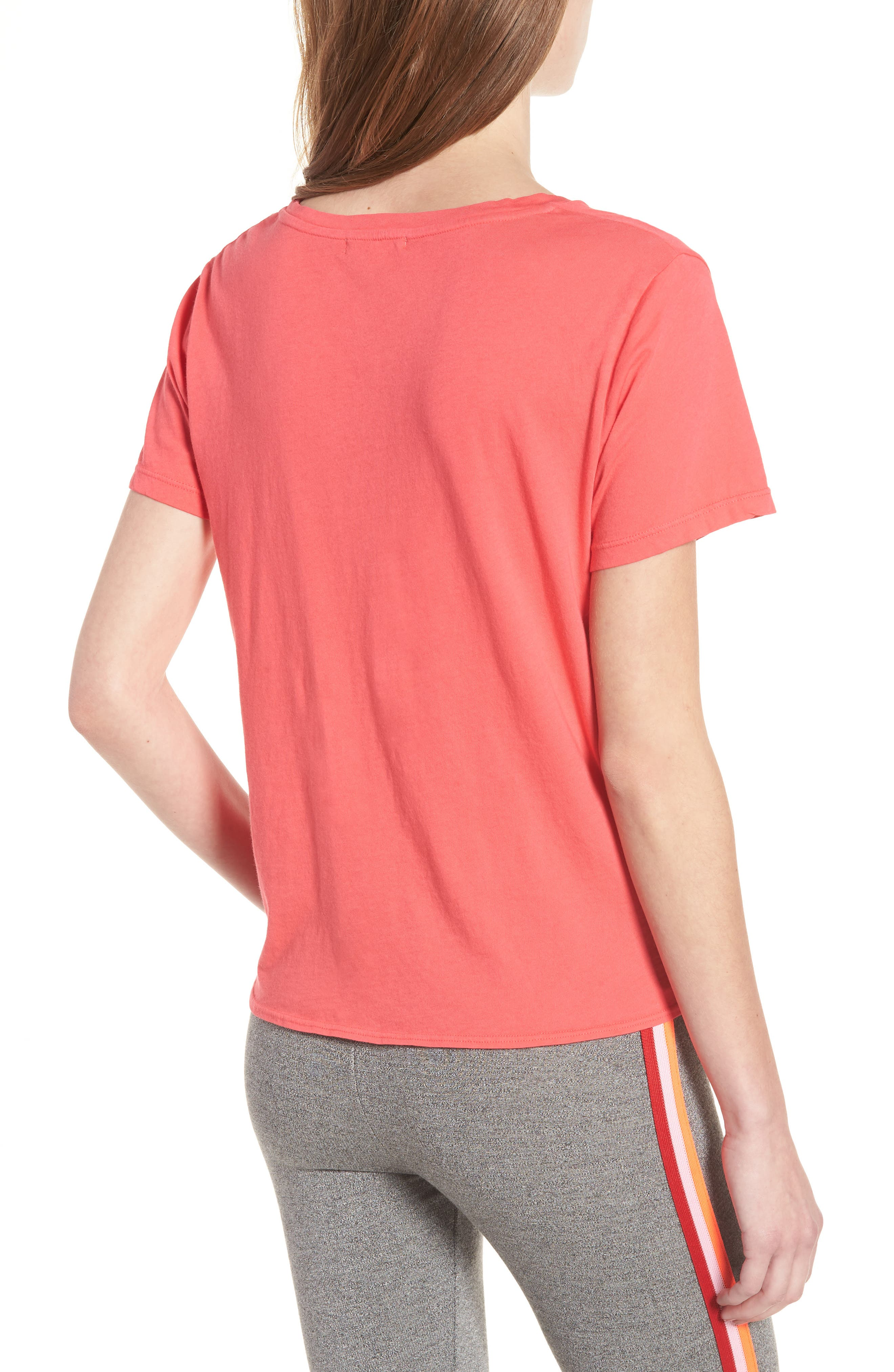 Locals Only Tie Front Tee,                             Alternate thumbnail 2, color,                             Hibiscus