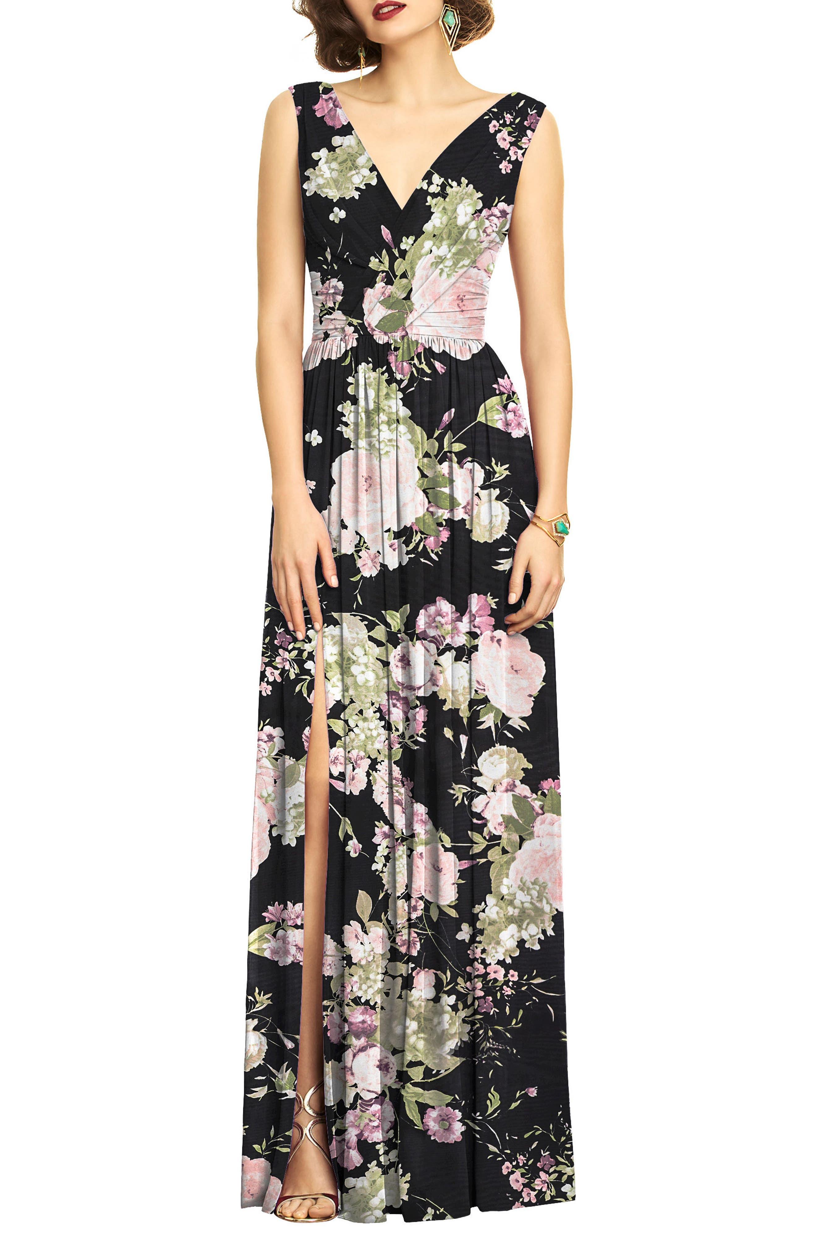 Surplice Ruched Chiffon Gown,                             Main thumbnail 1, color,                             Noir Garden Print