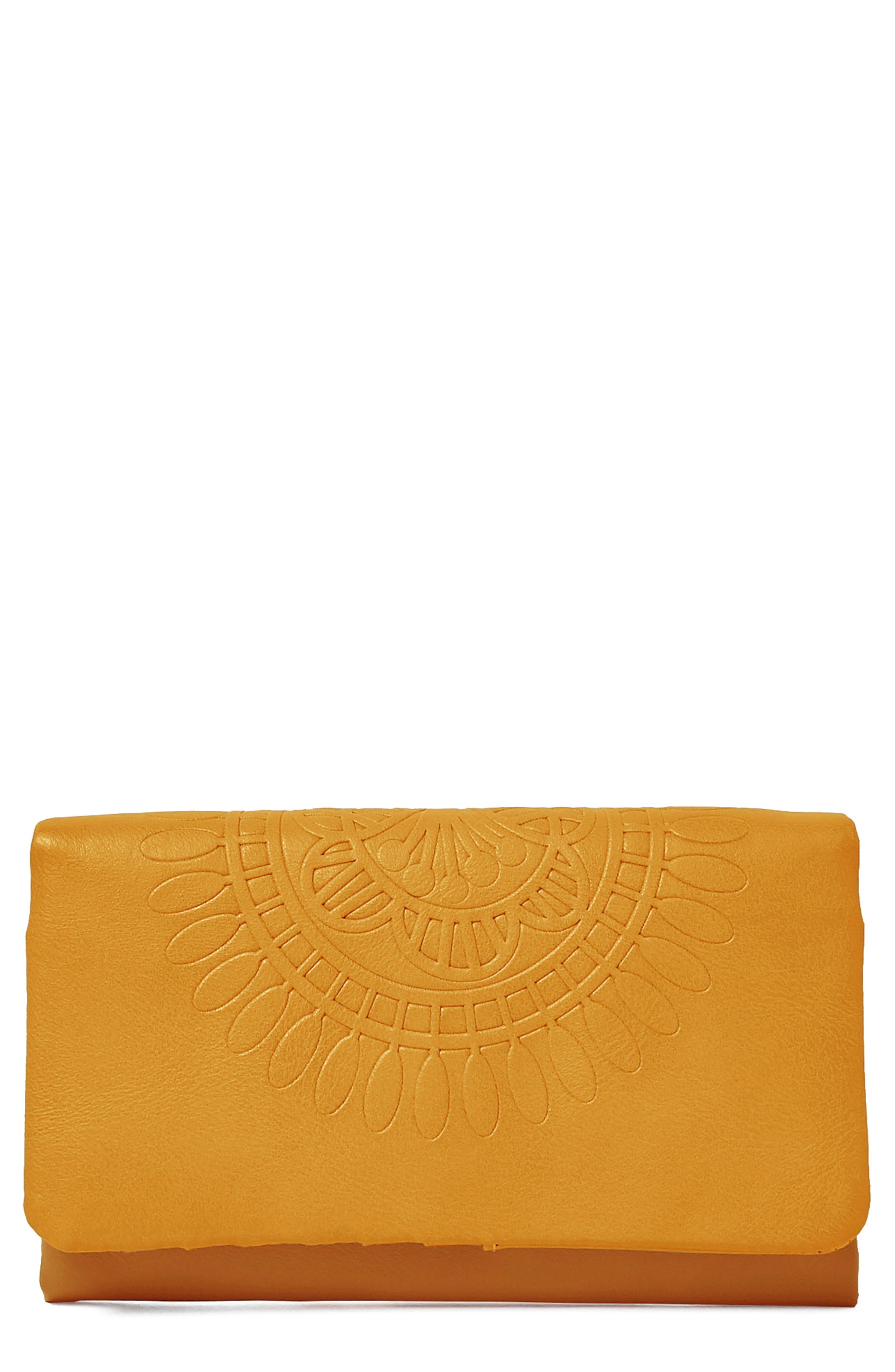Flower Gypsy Vegan Leather Wallet,                             Main thumbnail 1, color,                             Mustard