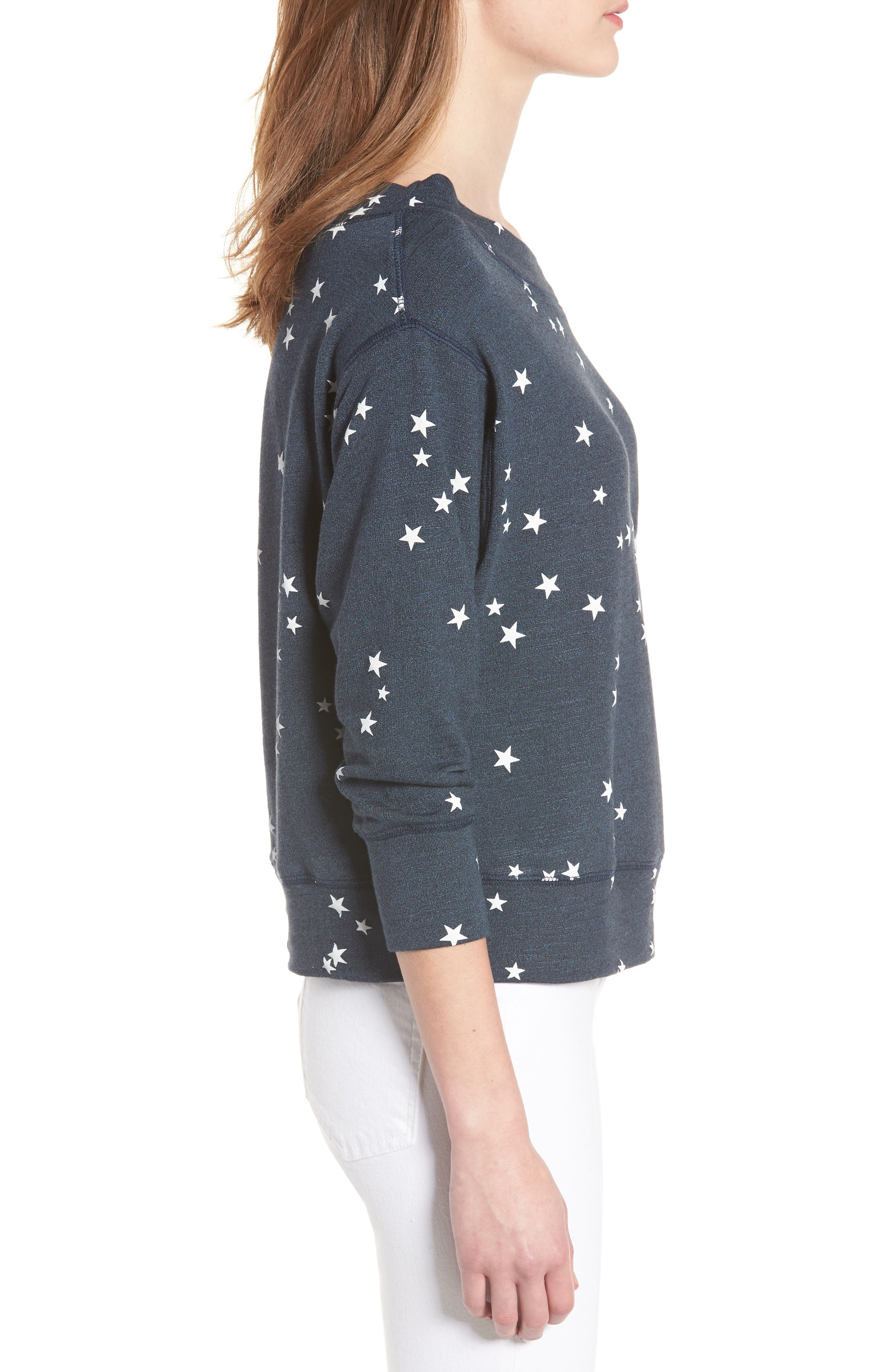 Star Off the Shoulder Pullover,                             Alternate thumbnail 3, color,                             Navy