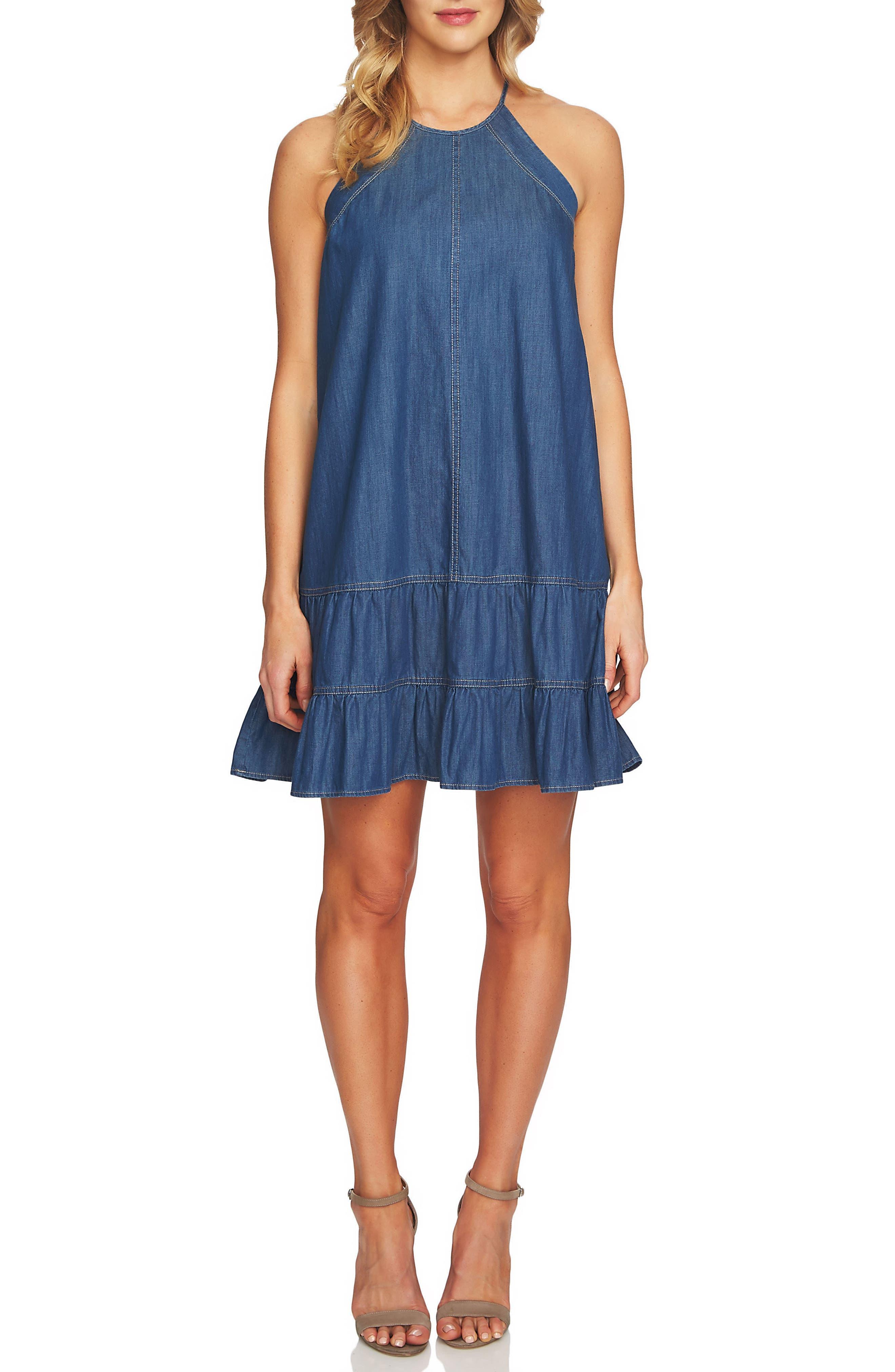 Denim Halter Dress,                         Main,                         color, Authentic