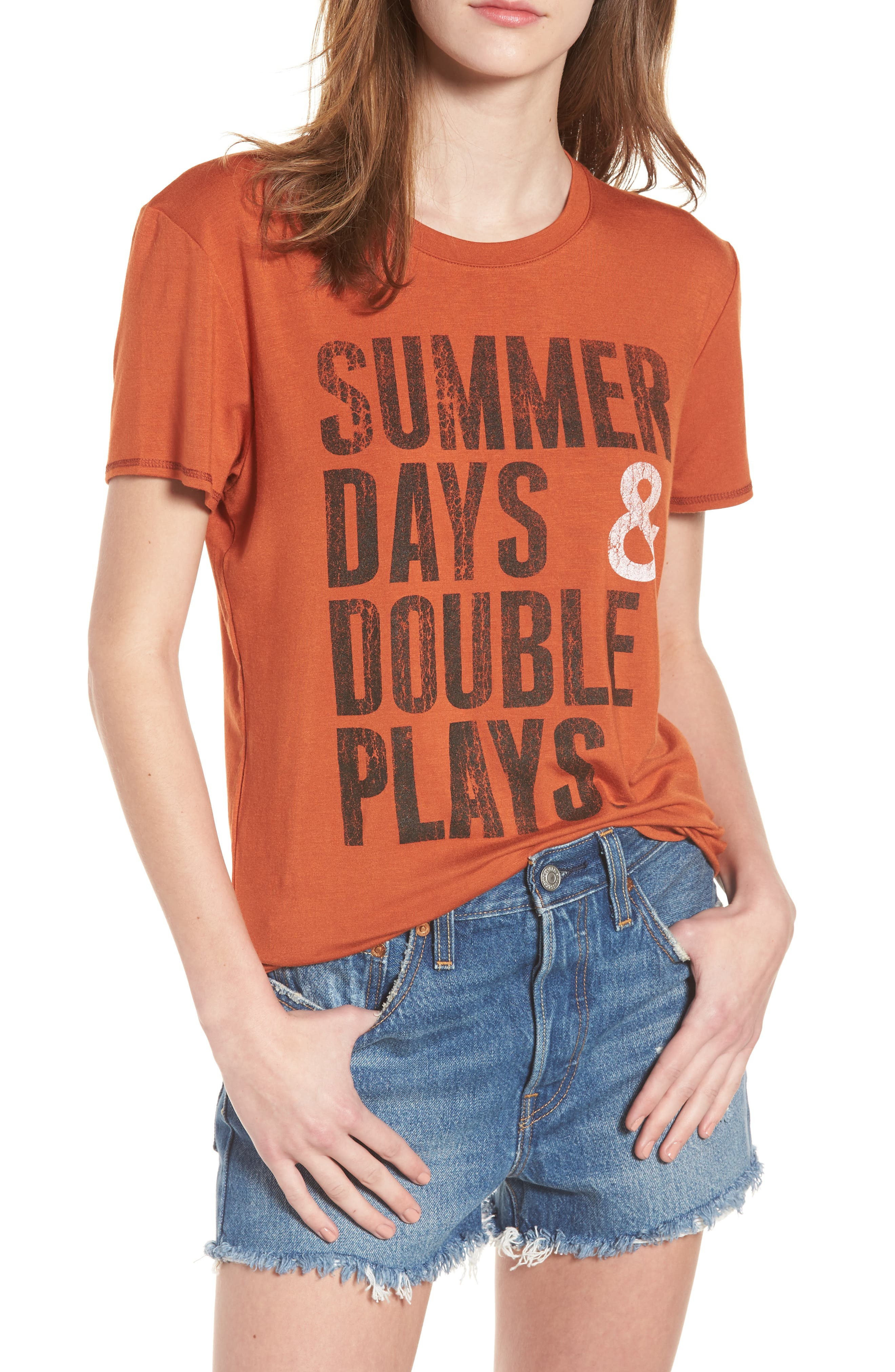 Summer Days & Double Plays Tee,                             Main thumbnail 1, color,                             Orange