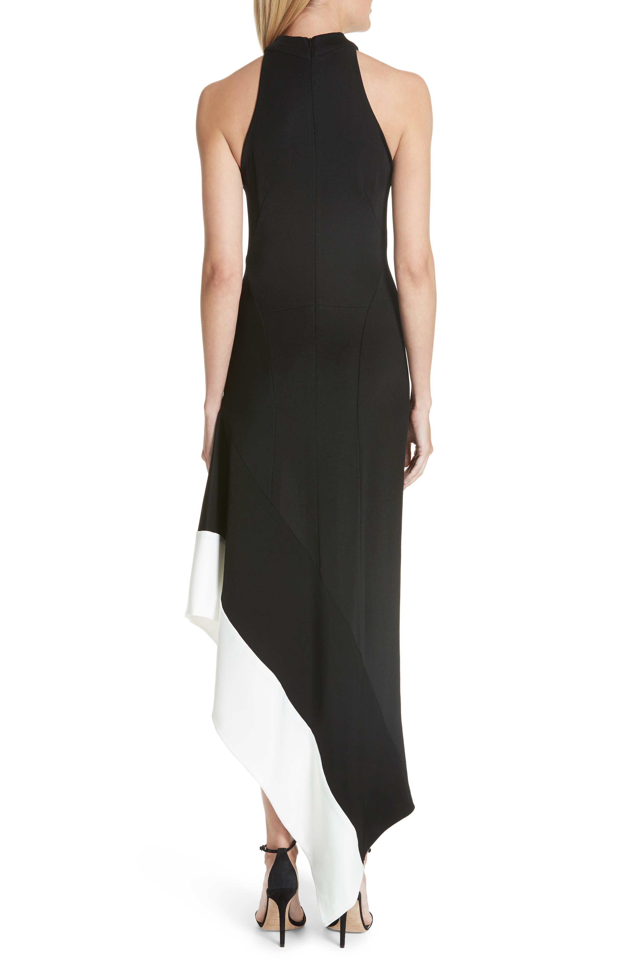 Colorblock Asymmetrical Gown,                             Alternate thumbnail 2, color,                             Black W/ White