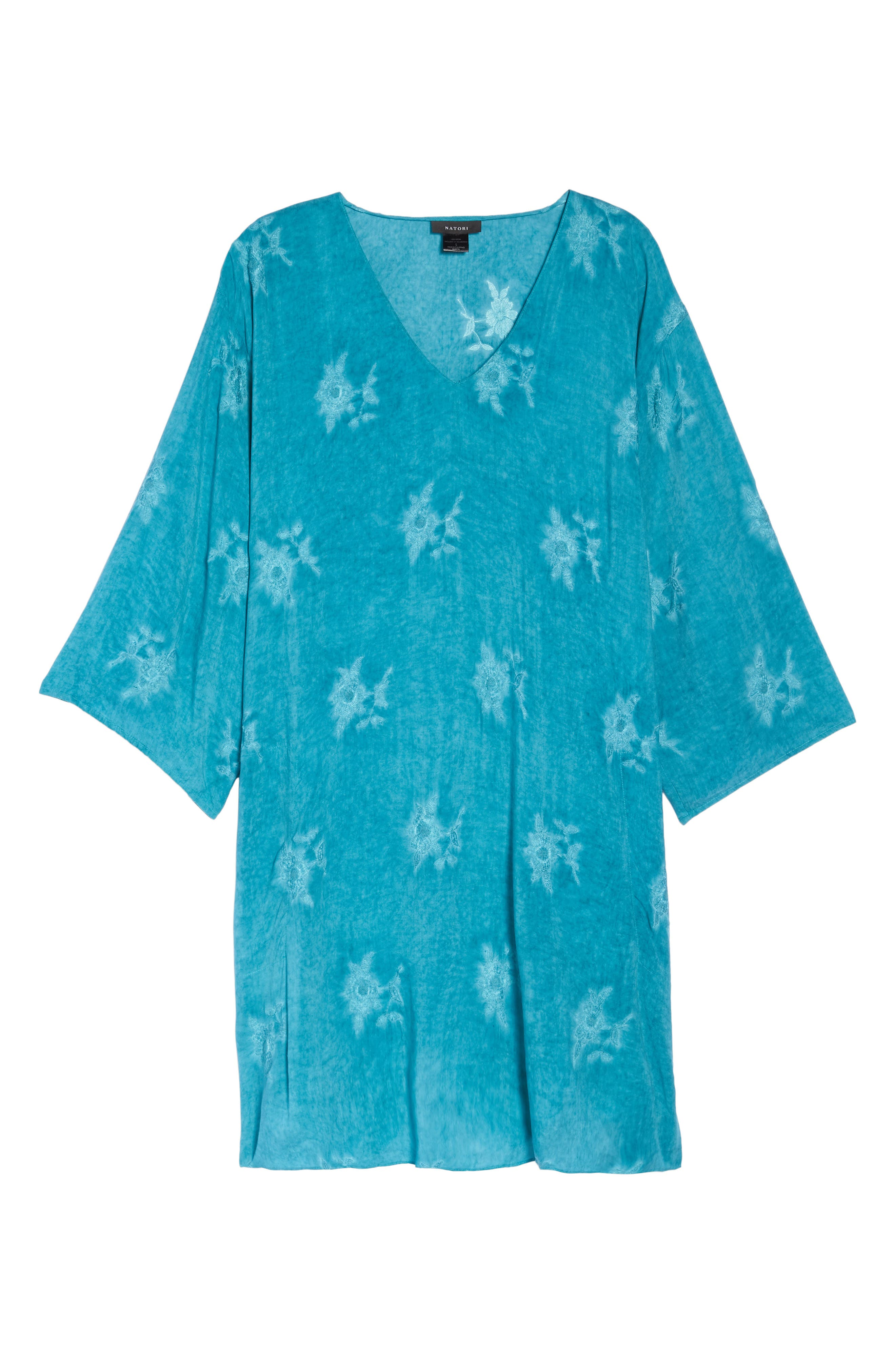 Jaipur Embroidered Voile Caftan,                             Alternate thumbnail 4, color,                             Turquoise