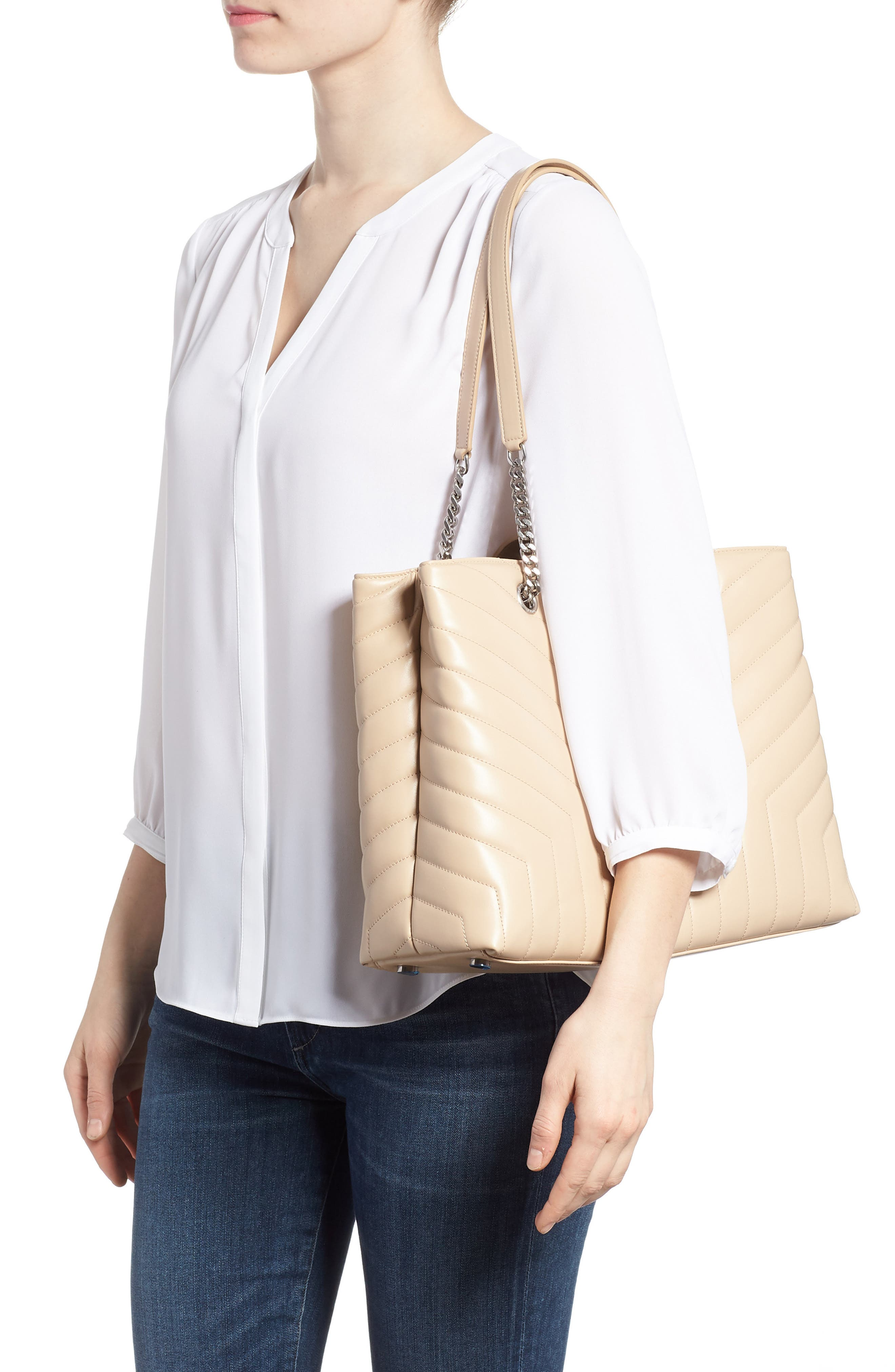 Large Loulou Matelassé Leather Shopper,                             Alternate thumbnail 2, color,                             Nude Powder/ Nude Powder