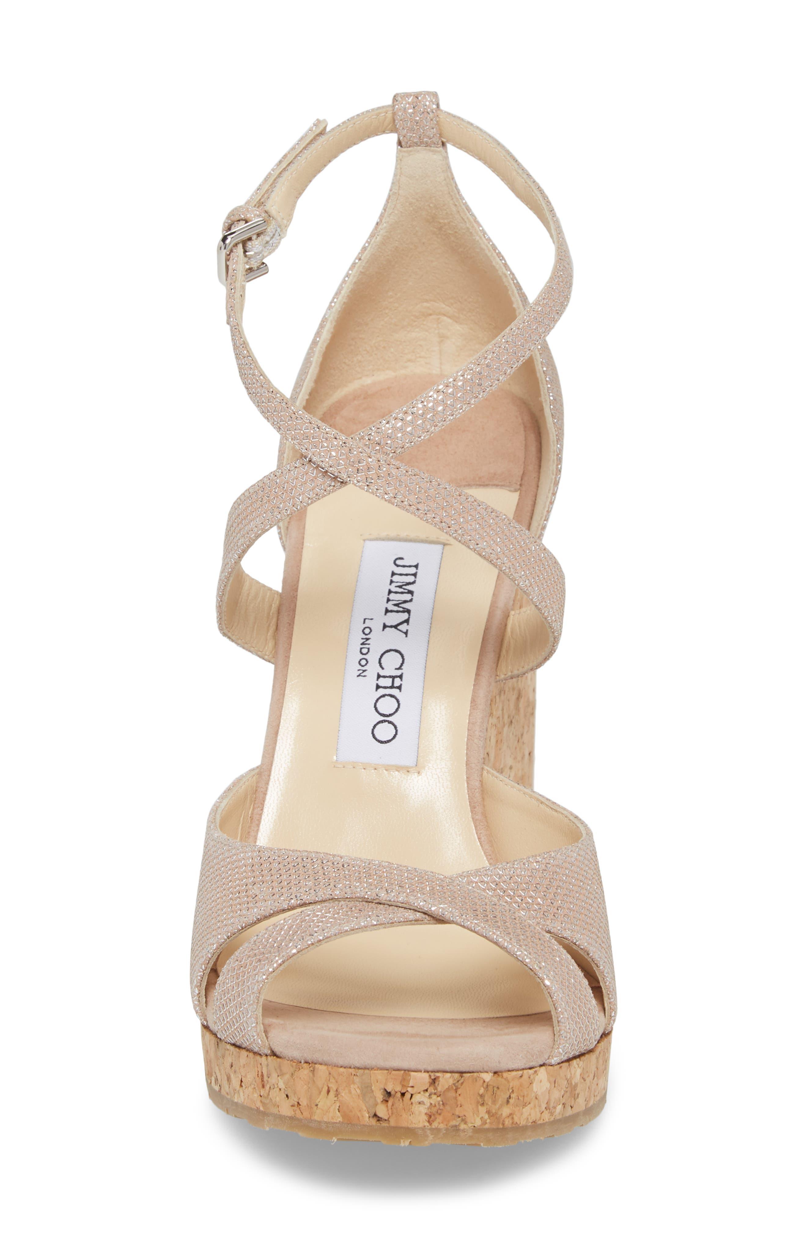 Alanah Espadrille Wedge Sandal,                             Alternate thumbnail 4, color,                             Ballet Pink Glitter