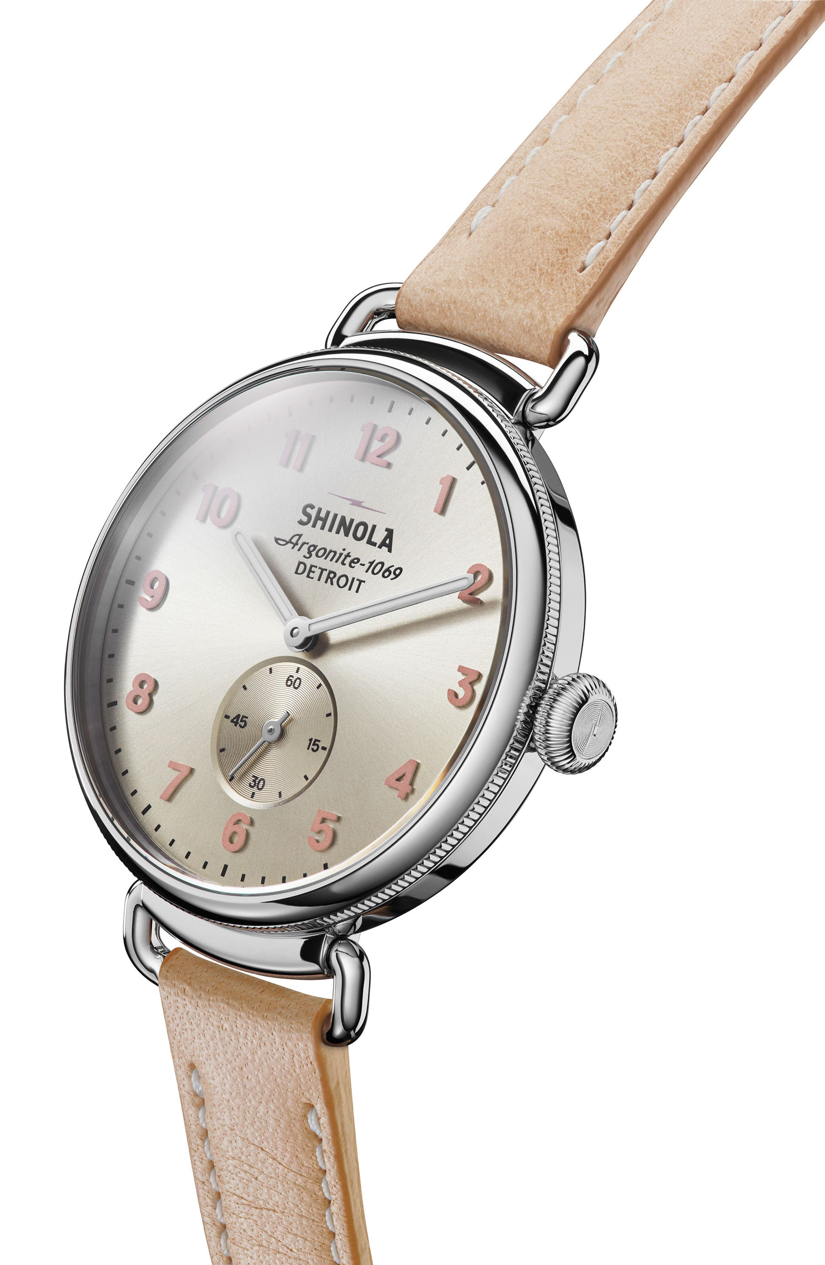 The Canfield Alligator Strap Watch, 38mm,                             Alternate thumbnail 5, color,                             Natural/ Metallic/ Silver