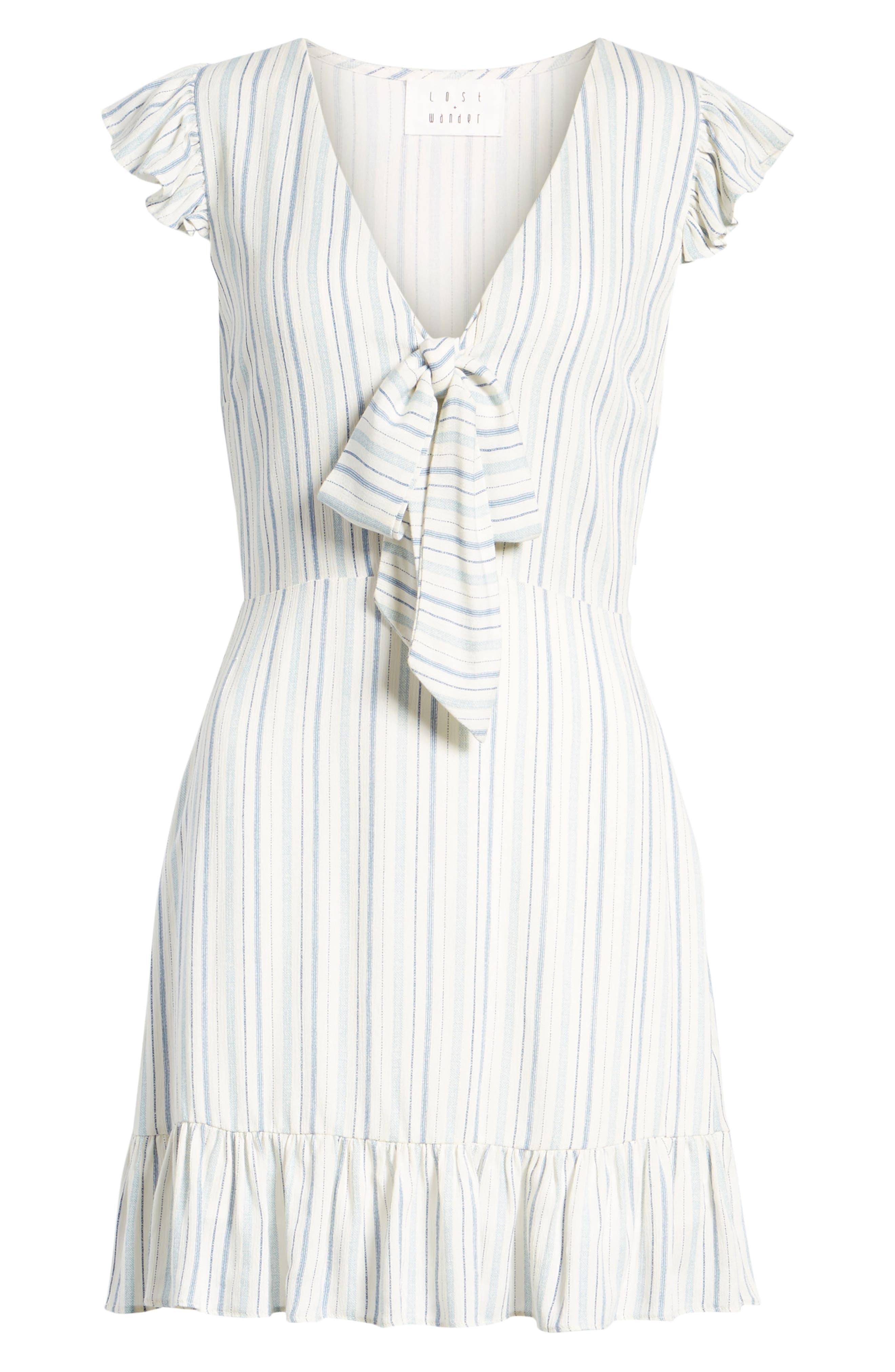 Kiara Stripe Minidress,                             Alternate thumbnail 8, color,                             Light Blue