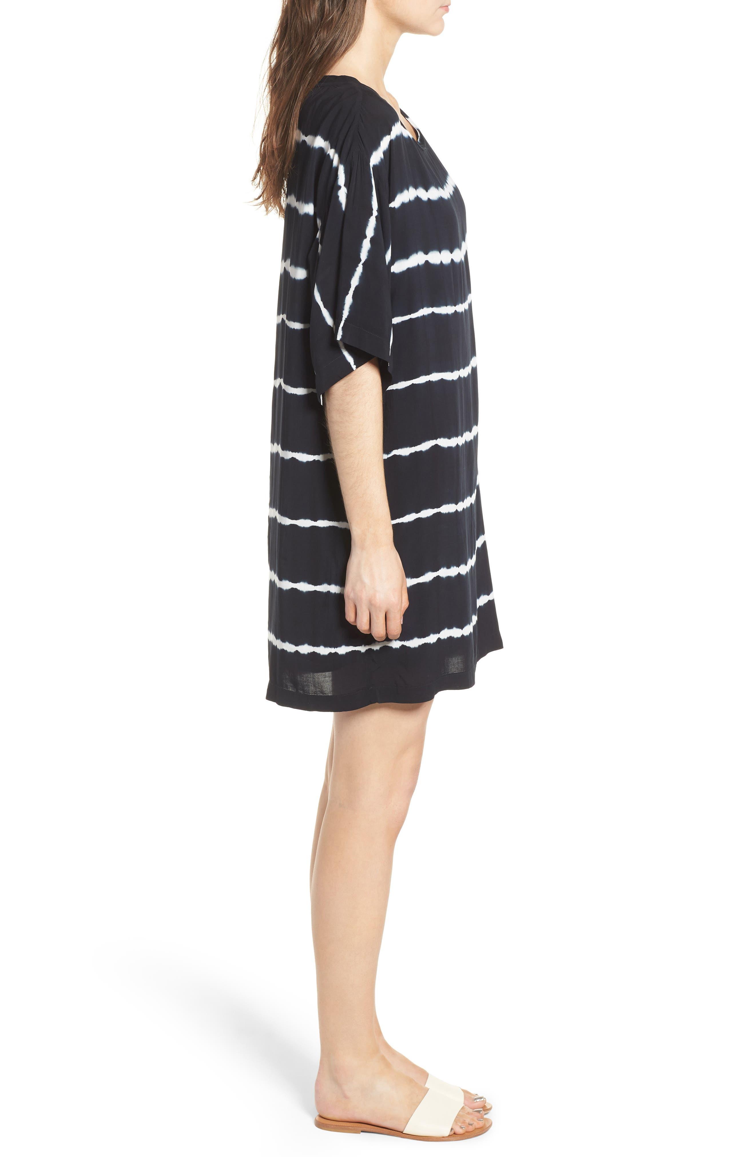 Tie Dye Stripe T-Shirt Dress,                             Alternate thumbnail 3, color,                             Navy/ White