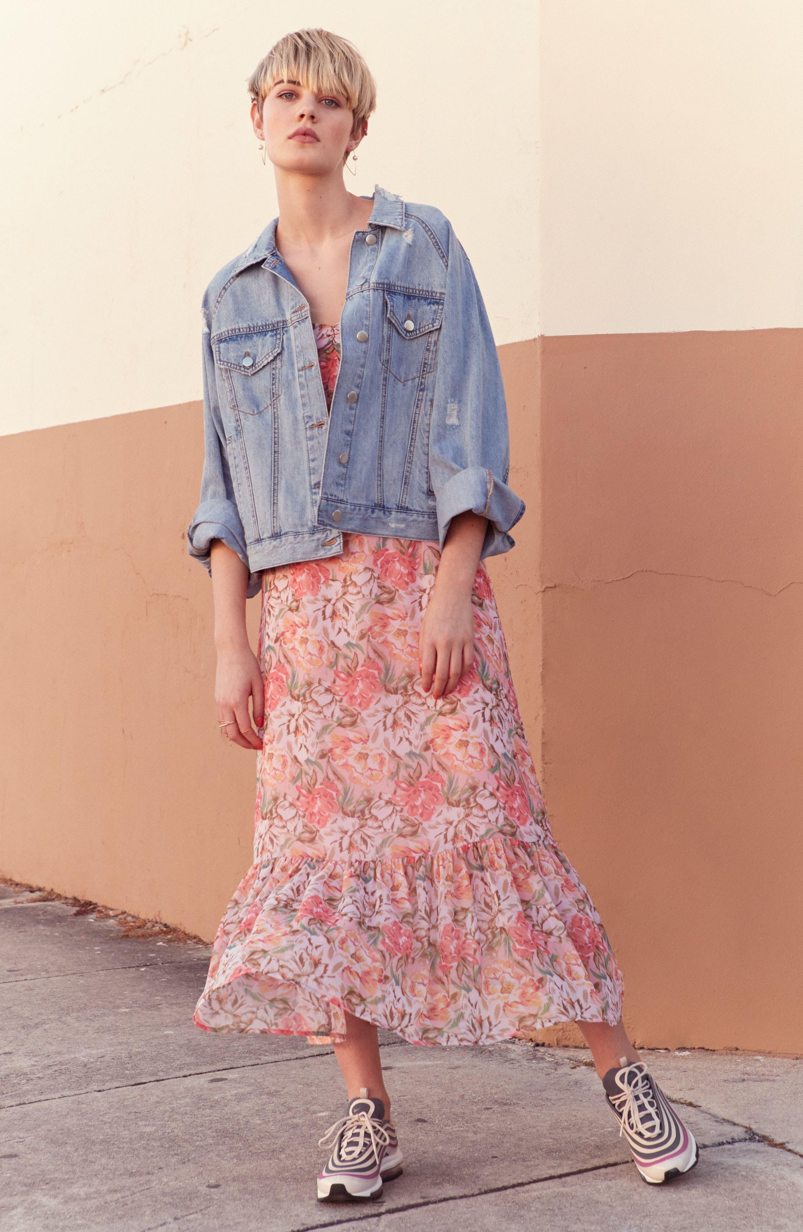 Valerie Blouson Midi Dress,                             Alternate thumbnail 2, color,                             Coral Floral