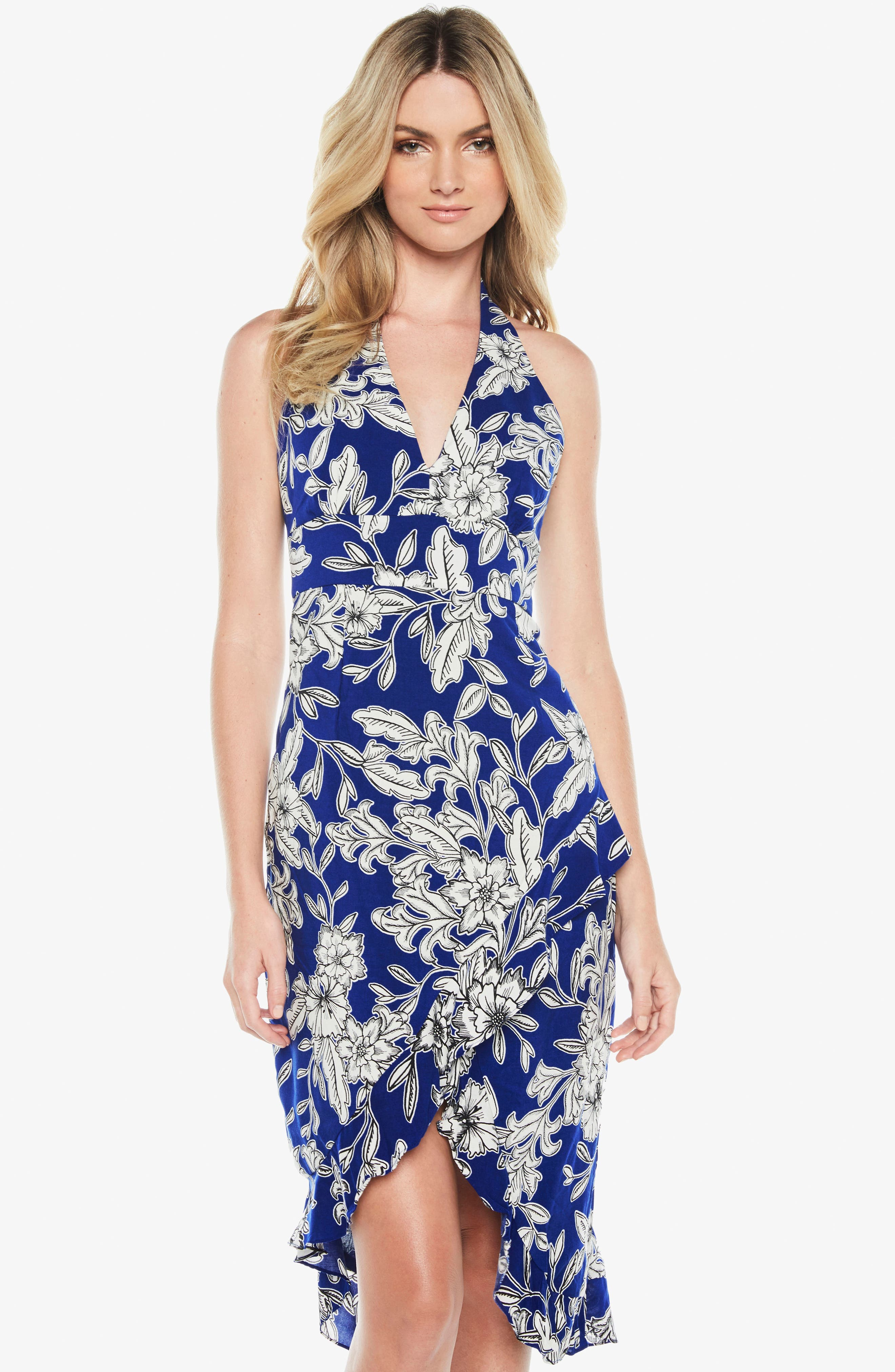 Petra Floral Dress,                             Alternate thumbnail 5, color,                             Cobalt Floral