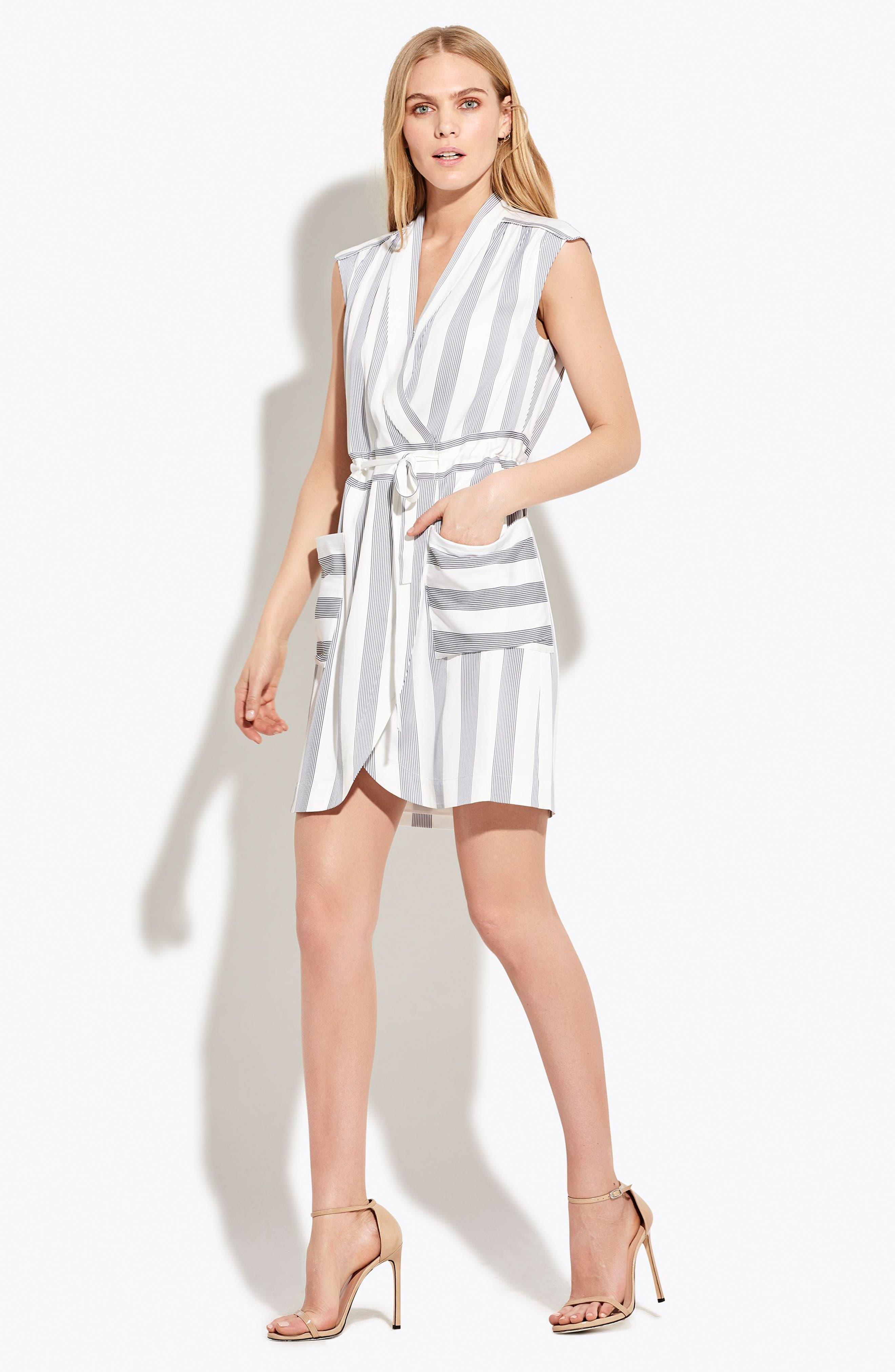 The Bomb Stretch Silk Dress,                             Alternate thumbnail 3, color,                             White/ Navy Stripe