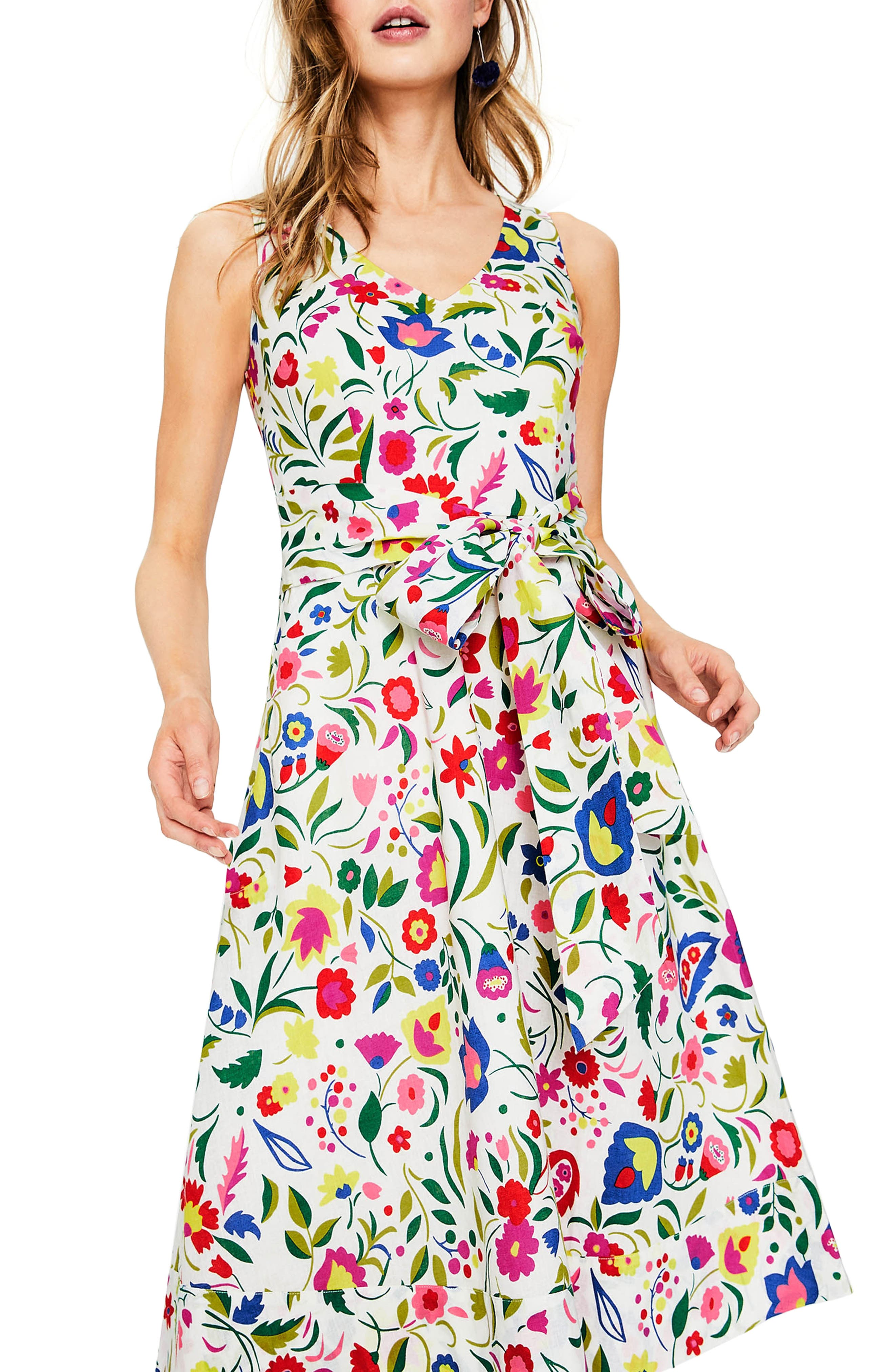 Jade Fit & Flare Linen Cotton Dress,                         Main,                         color, Ivory Folk Pop