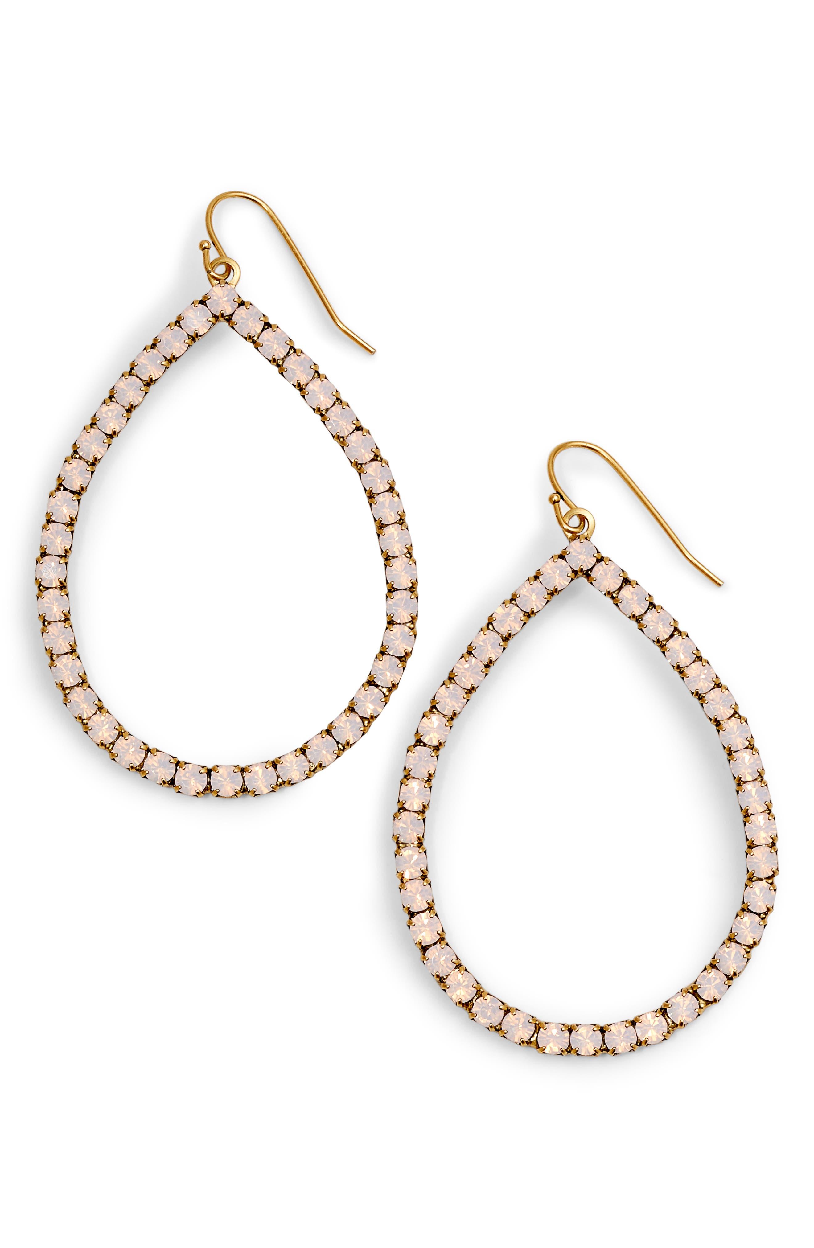 Emilia Crystal Teardrop Earrings,                         Main,                         color, Rose Opal