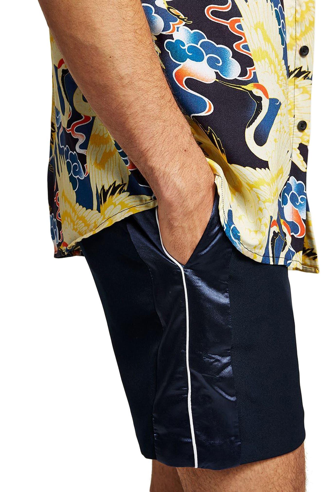 Satin Trim Shorts,                             Alternate thumbnail 3, color,                             Navy Blue