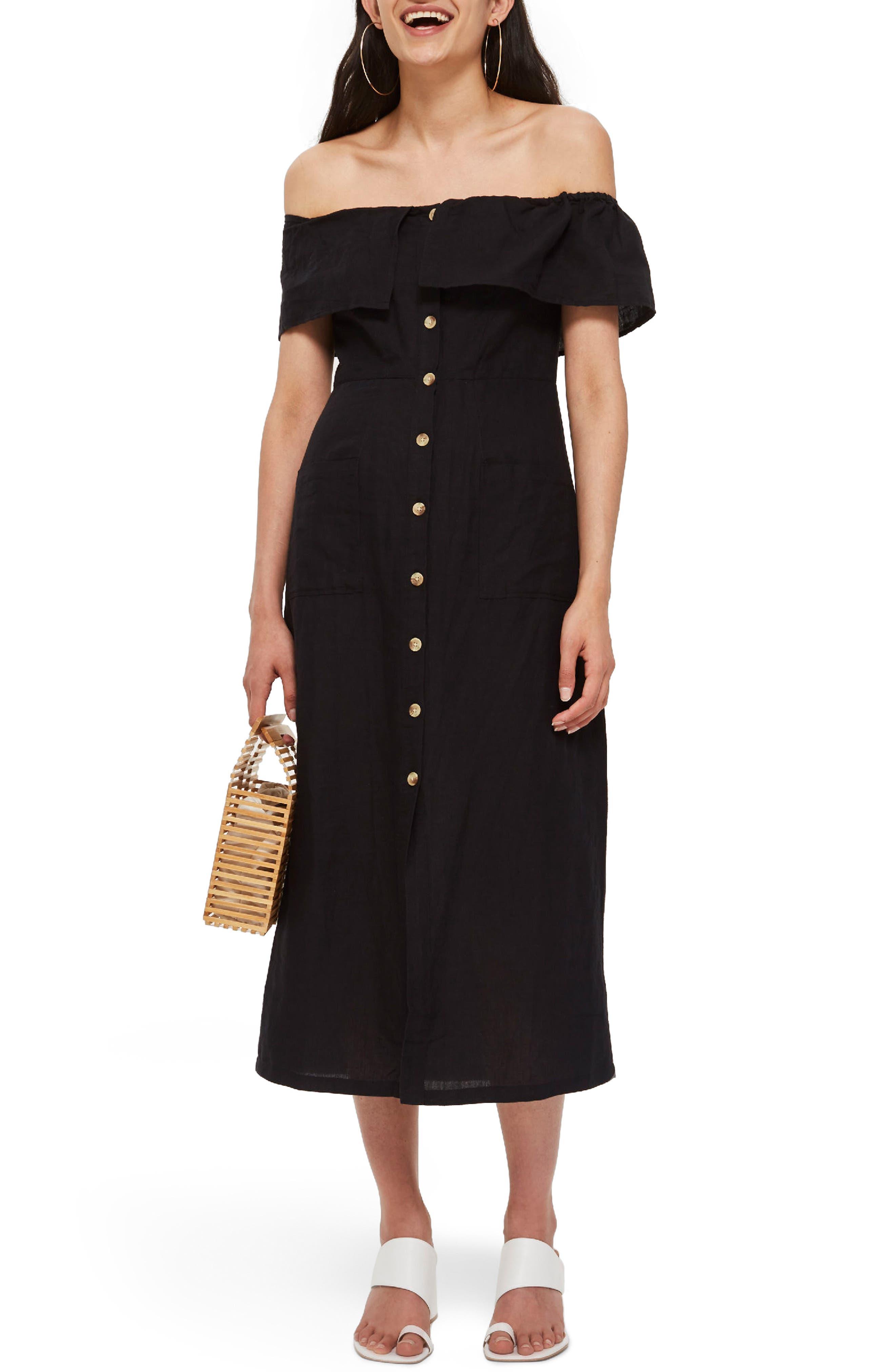 Linen Off the Shoulder Midi Dress,                         Main,                         color, Black