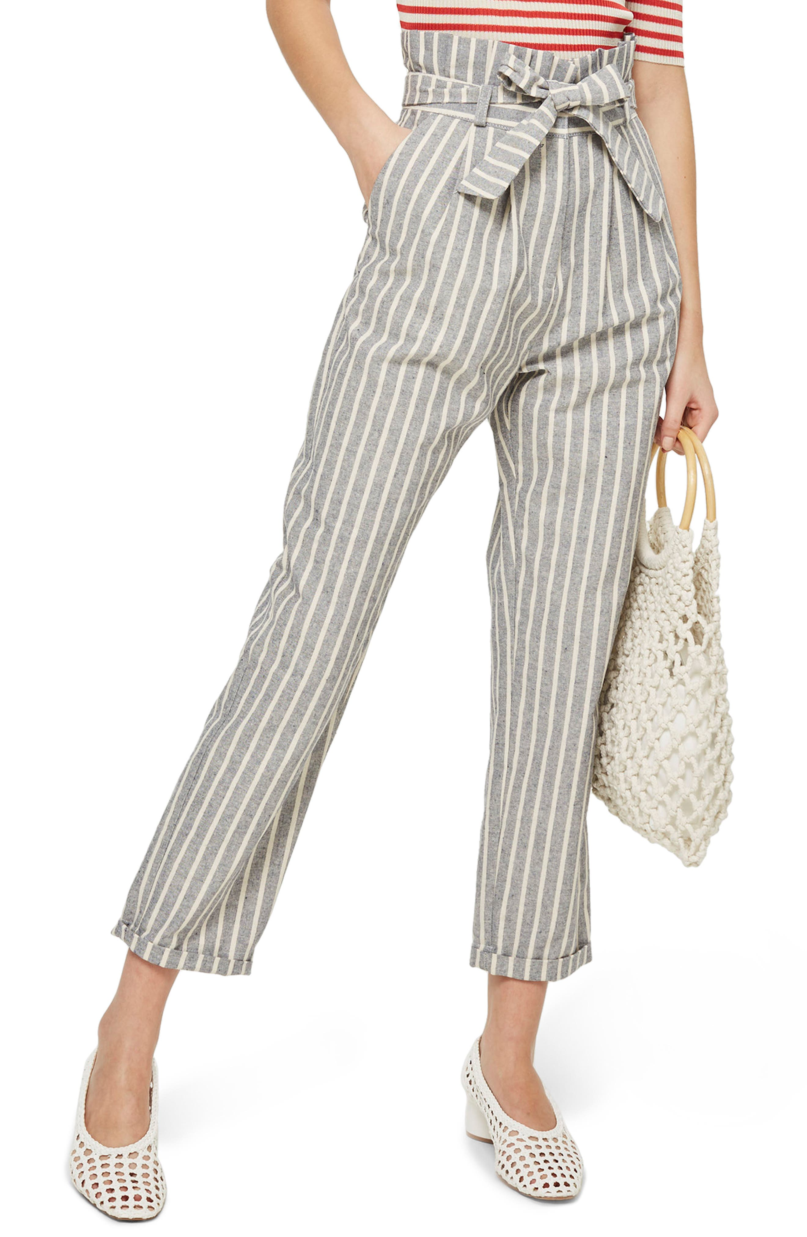 Main Image - Topshop Belted Stripe Roll-Cuff Trousers