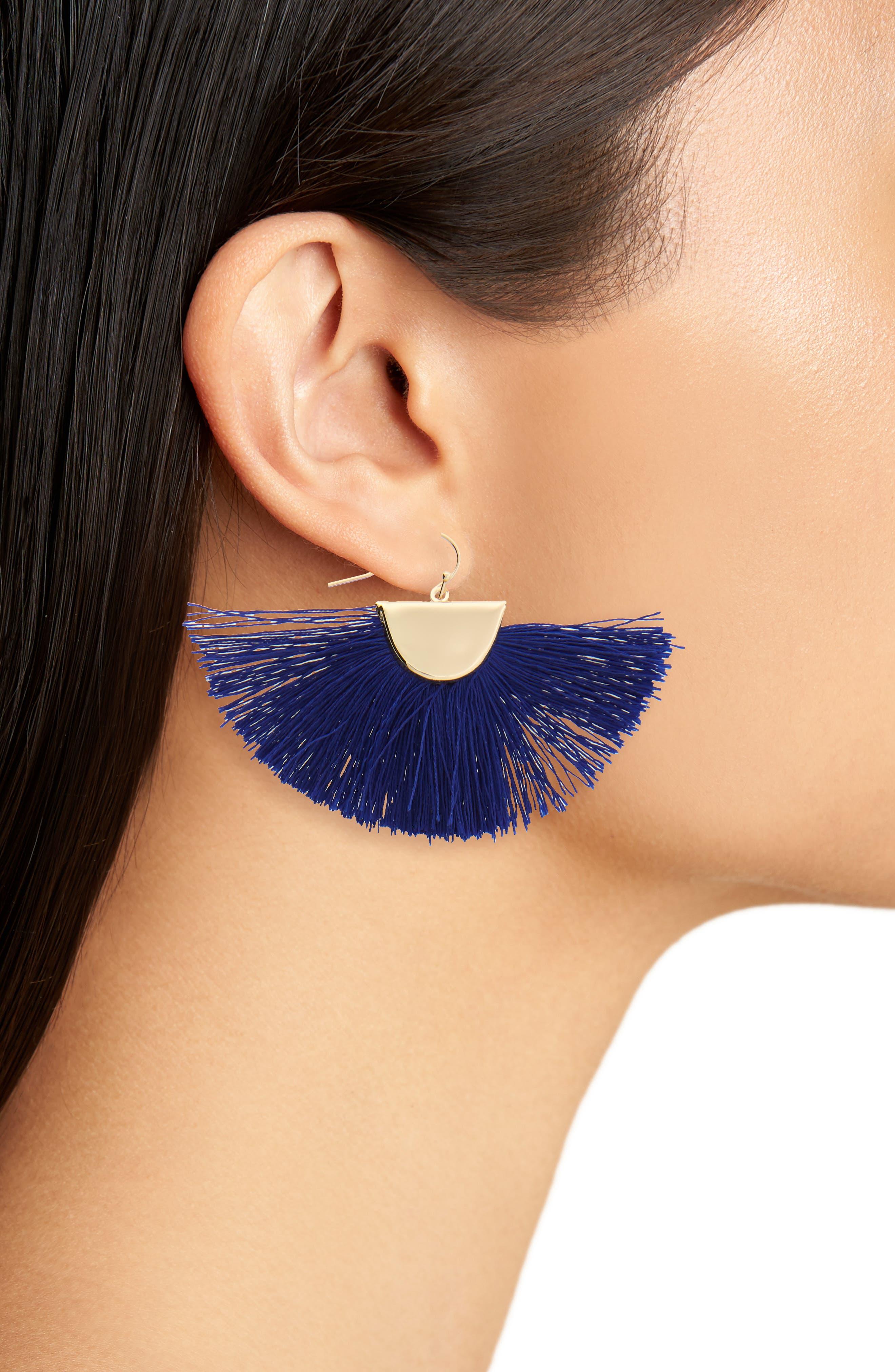 Fan Drop Earrings,                             Alternate thumbnail 2, color,                             Blue