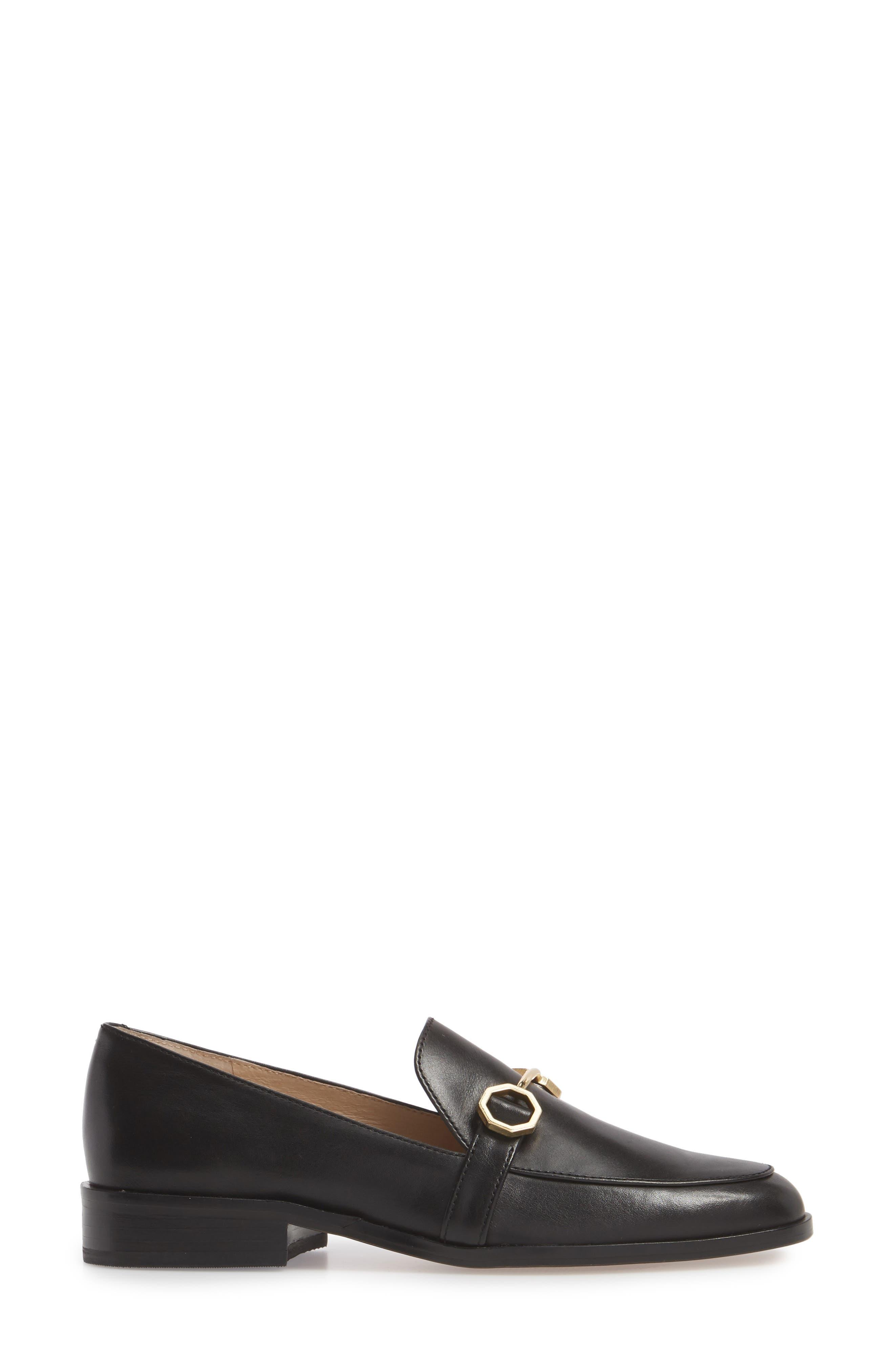 Bayne Loafer,                             Alternate thumbnail 3, color,                             Black Leather