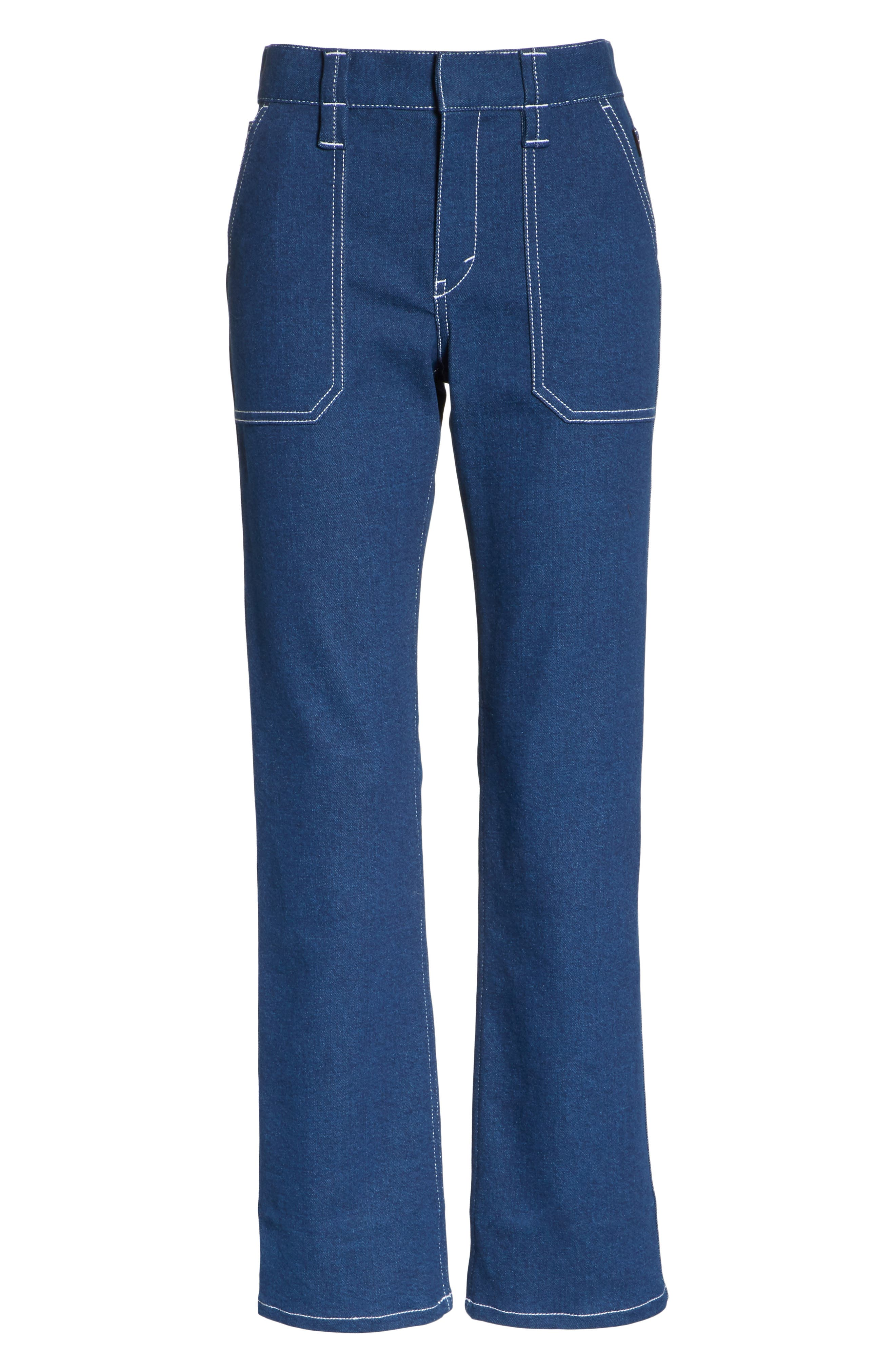 Contrast Circle Stitch Jeans,                             Alternate thumbnail 6, color,                             Ultramarine