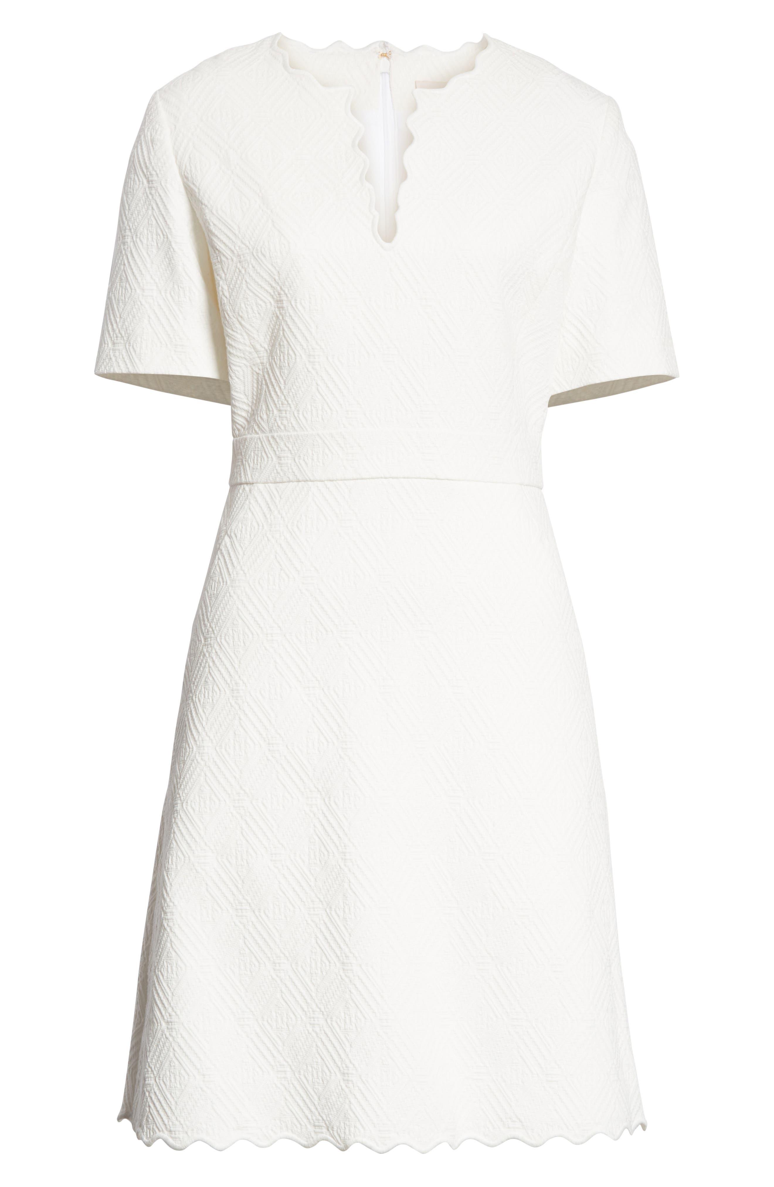 Bailey Scallop Cotton Dress,                             Alternate thumbnail 6, color,                             White