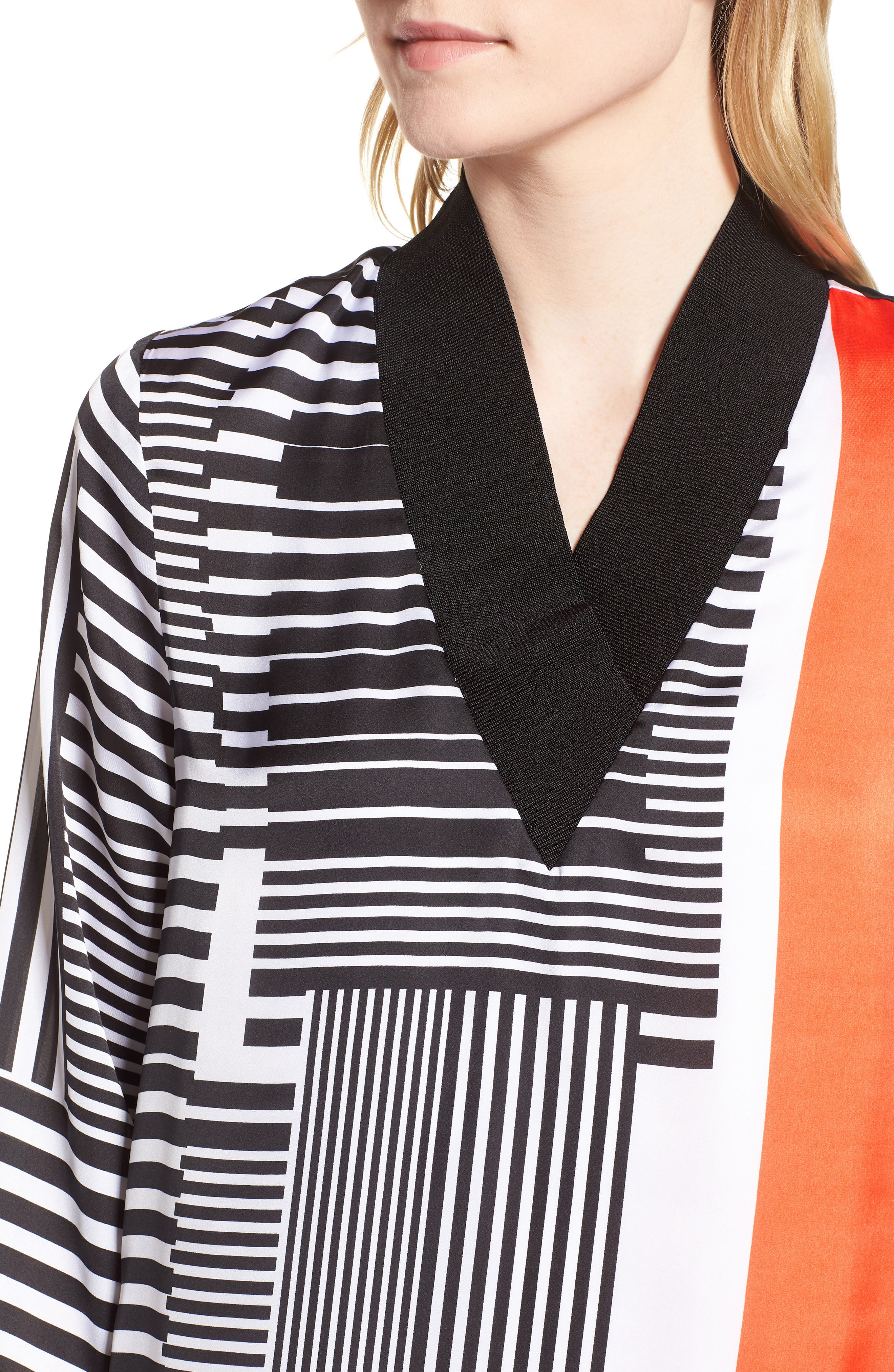 Mix Stripe V-Neck Shift Dress,                             Alternate thumbnail 4, color,                             Pop Red