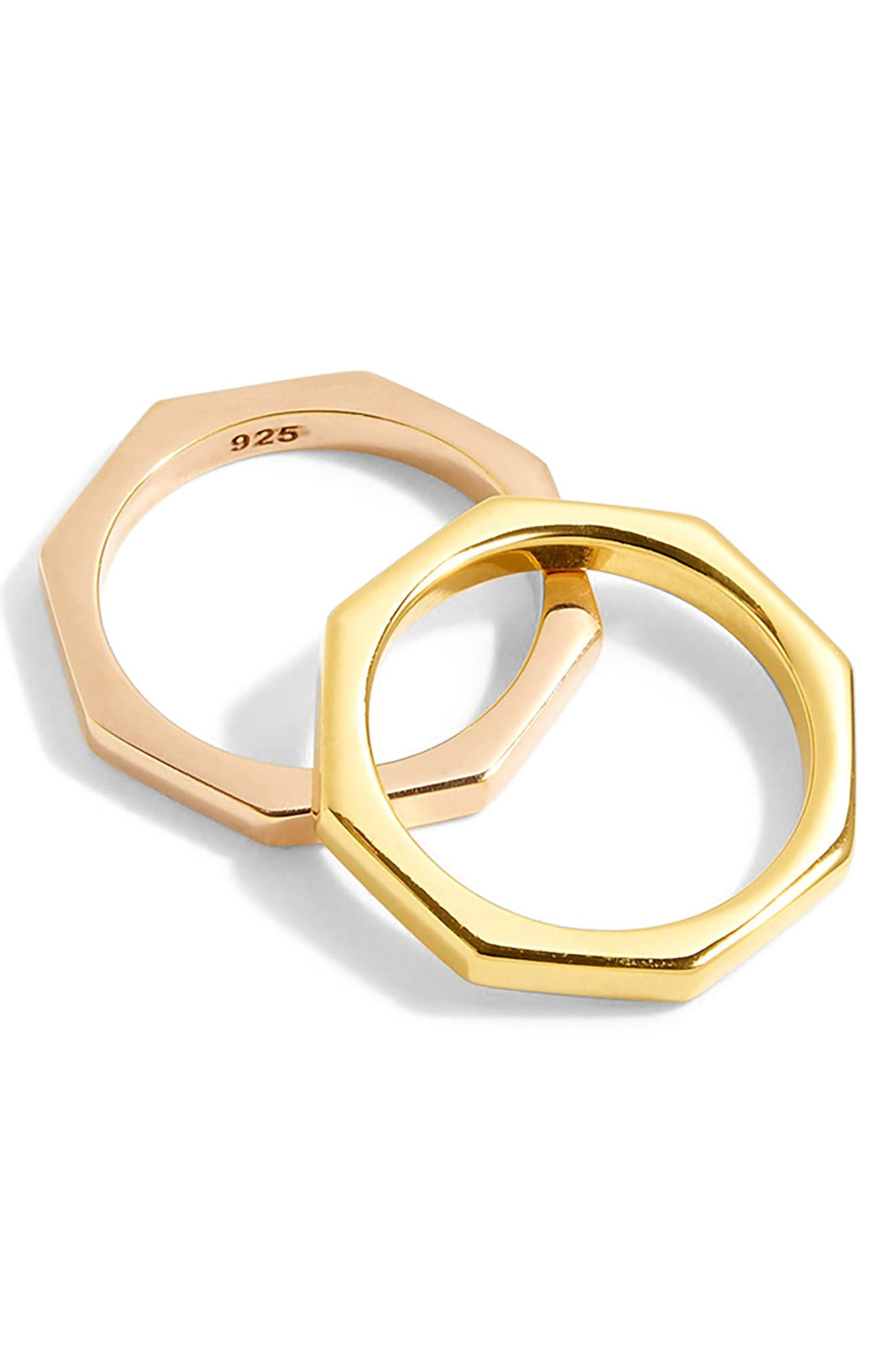 Octagon Stacked Rings,                         Main,                         color, Mixed Metal