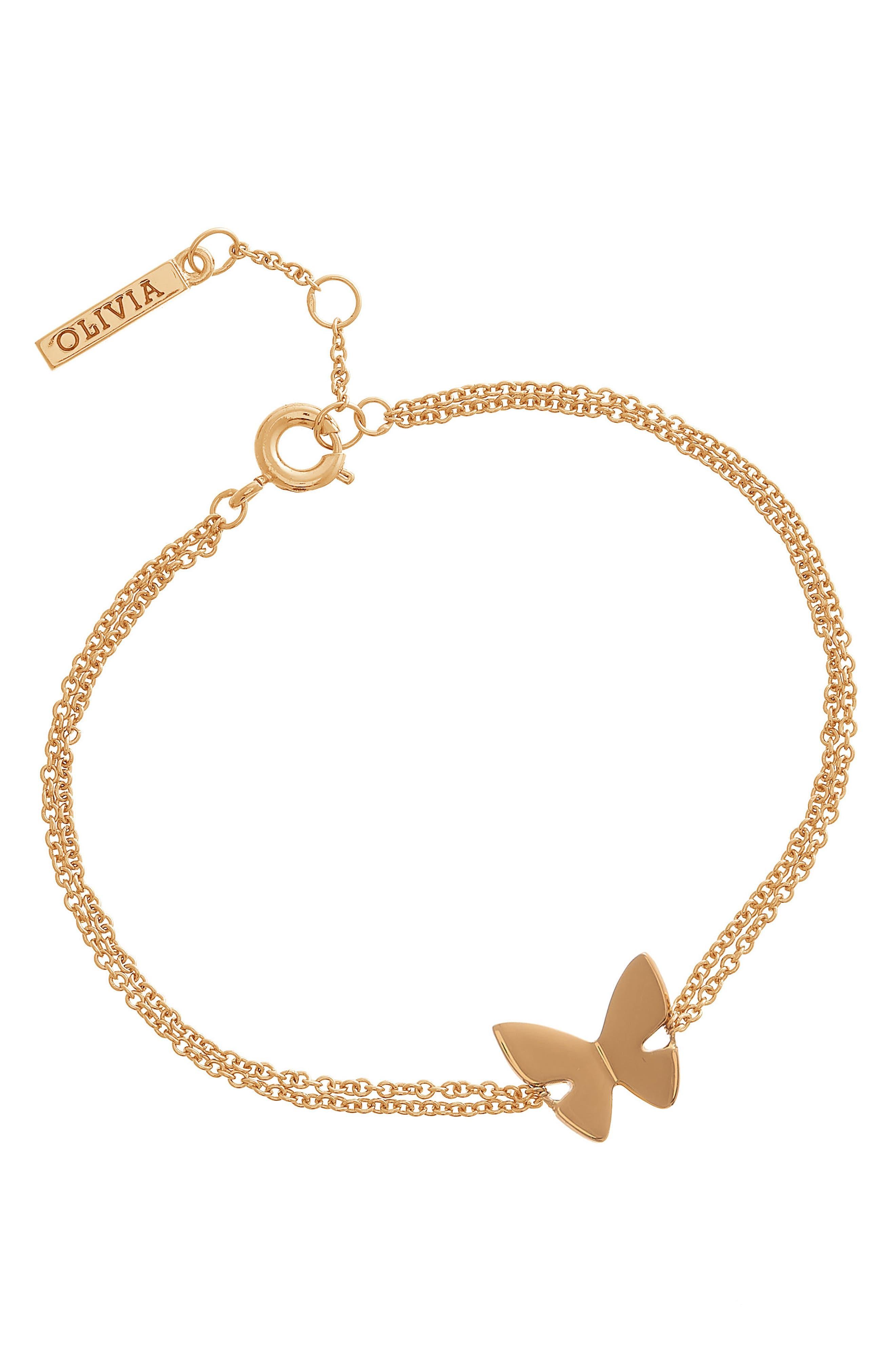 Social Butterfly Chain Bracelet,                             Alternate thumbnail 2, color,                             Gold