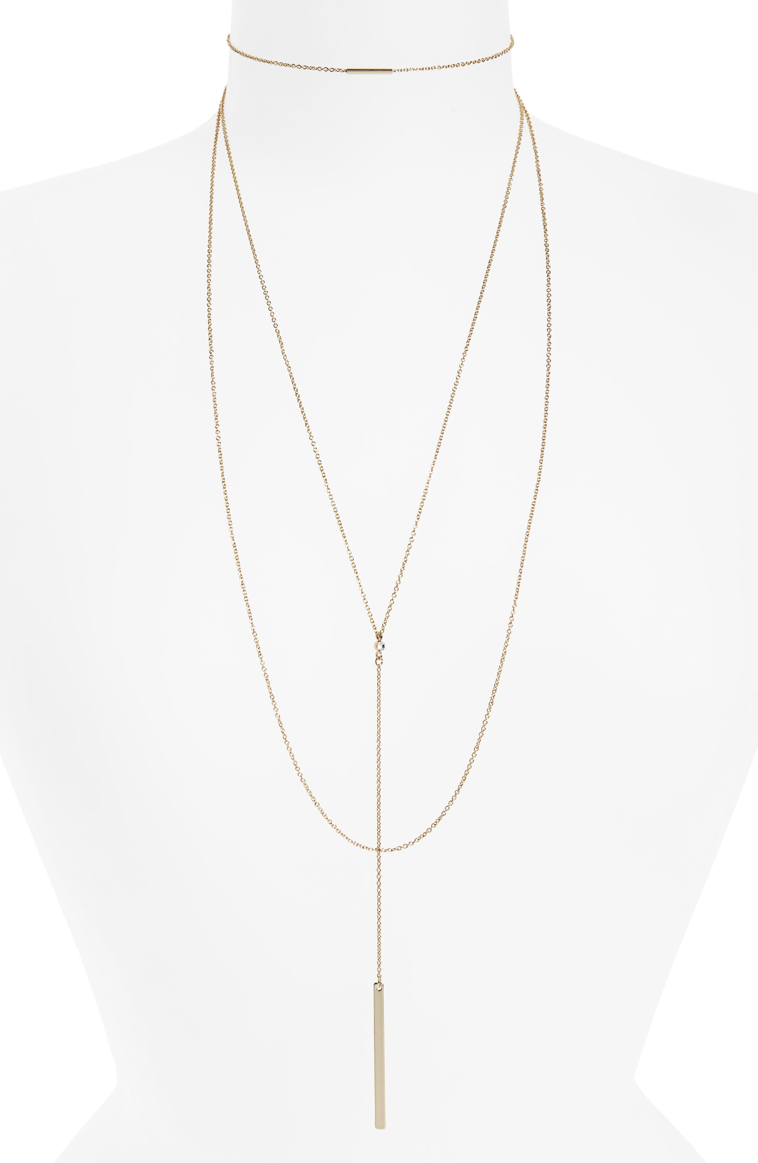 Multi-Row Drop Pendant Necklace,                             Main thumbnail 1, color,                             Gold