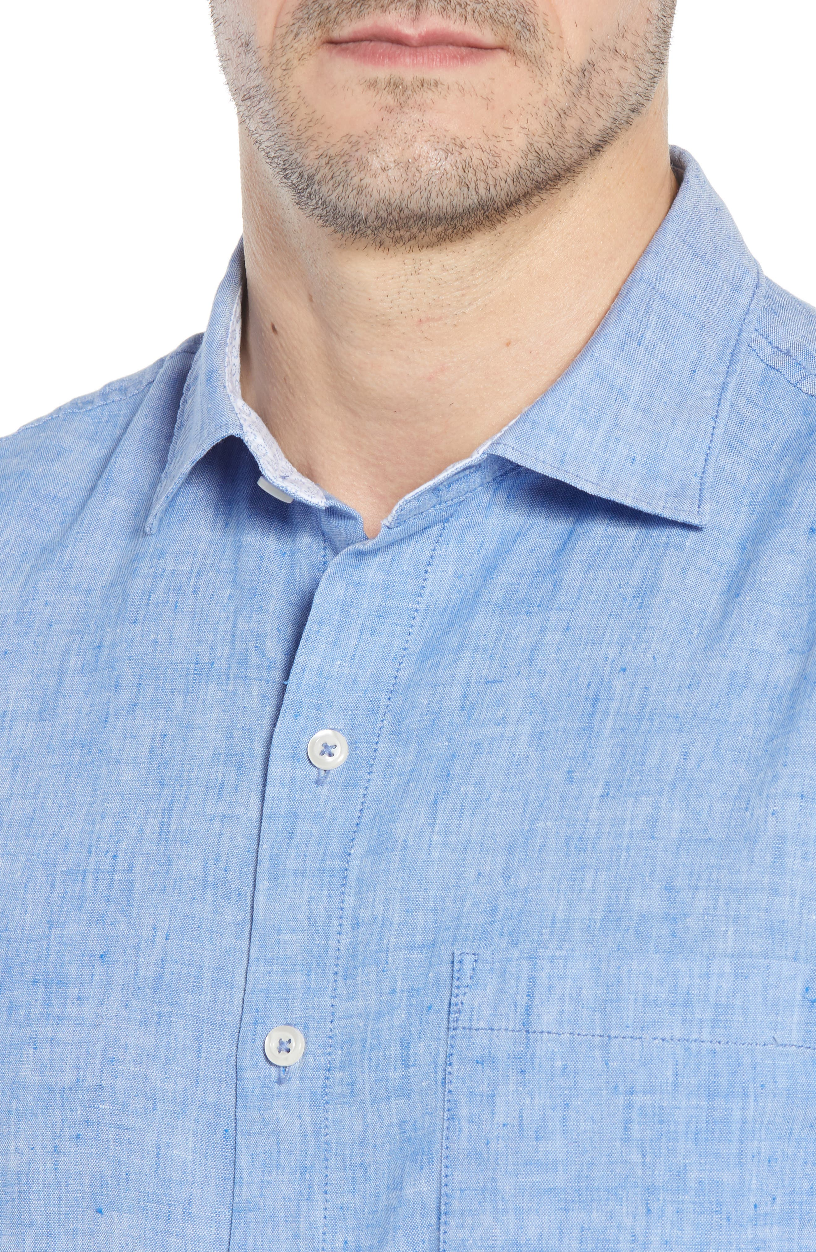 Lanai Tides Linen Blend Sport Shirt,                             Alternate thumbnail 4, color,                             Cobalt Sea