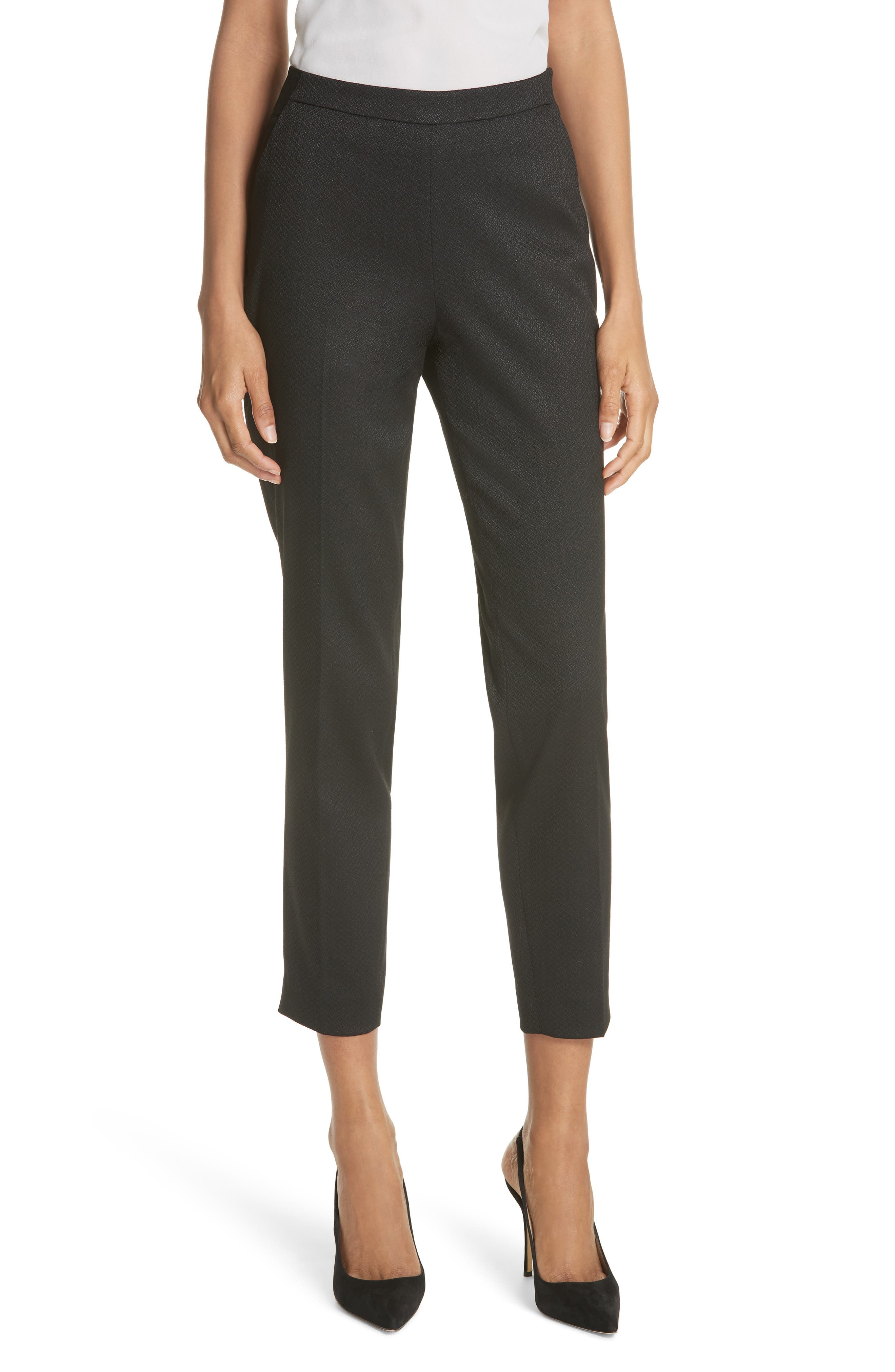 Textured Tailored Crop Pants,                             Main thumbnail 1, color,                             Black