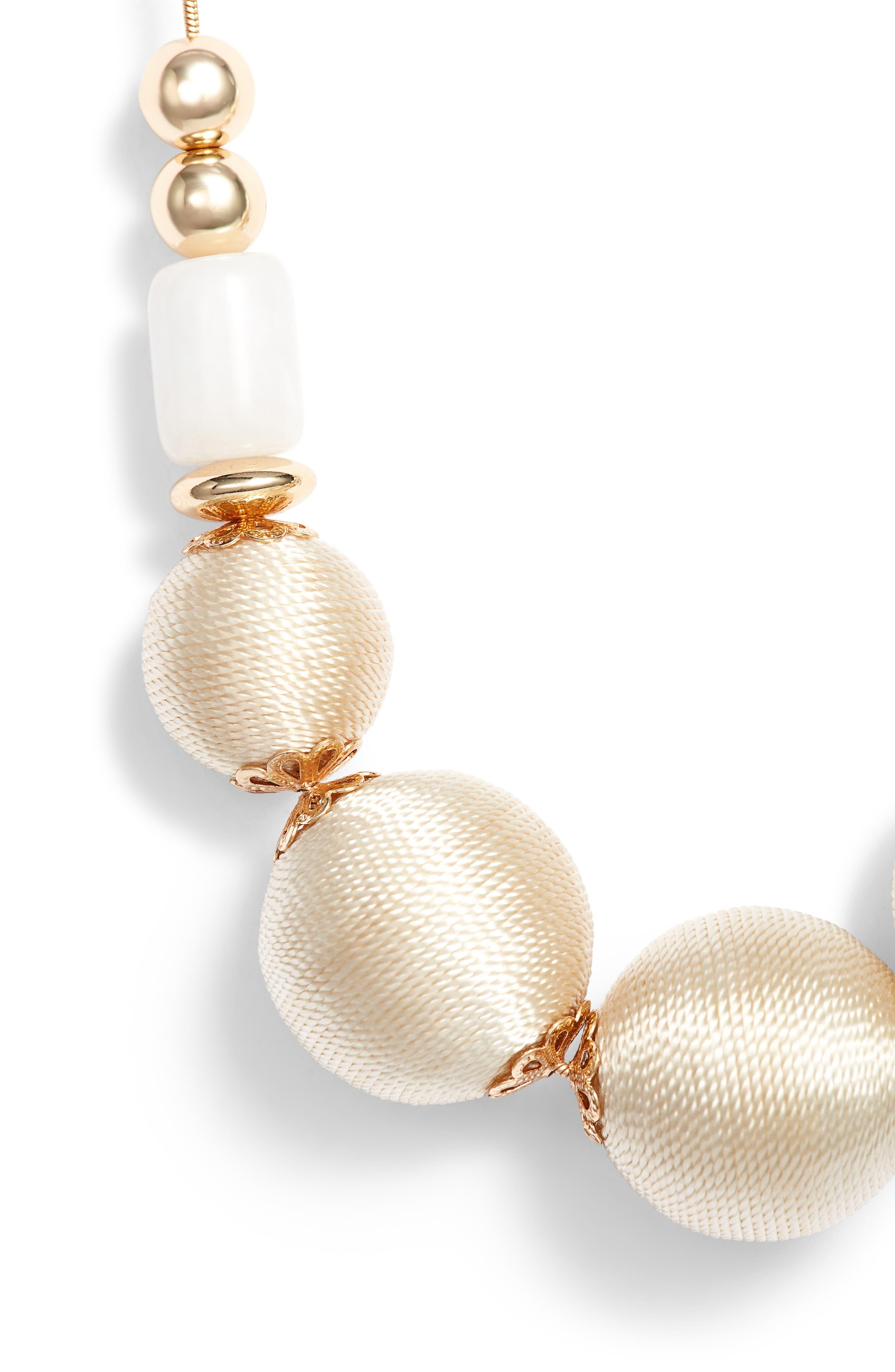 Wrapped Sphere Slider Necklace,                             Alternate thumbnail 2, color,                             White- Gold