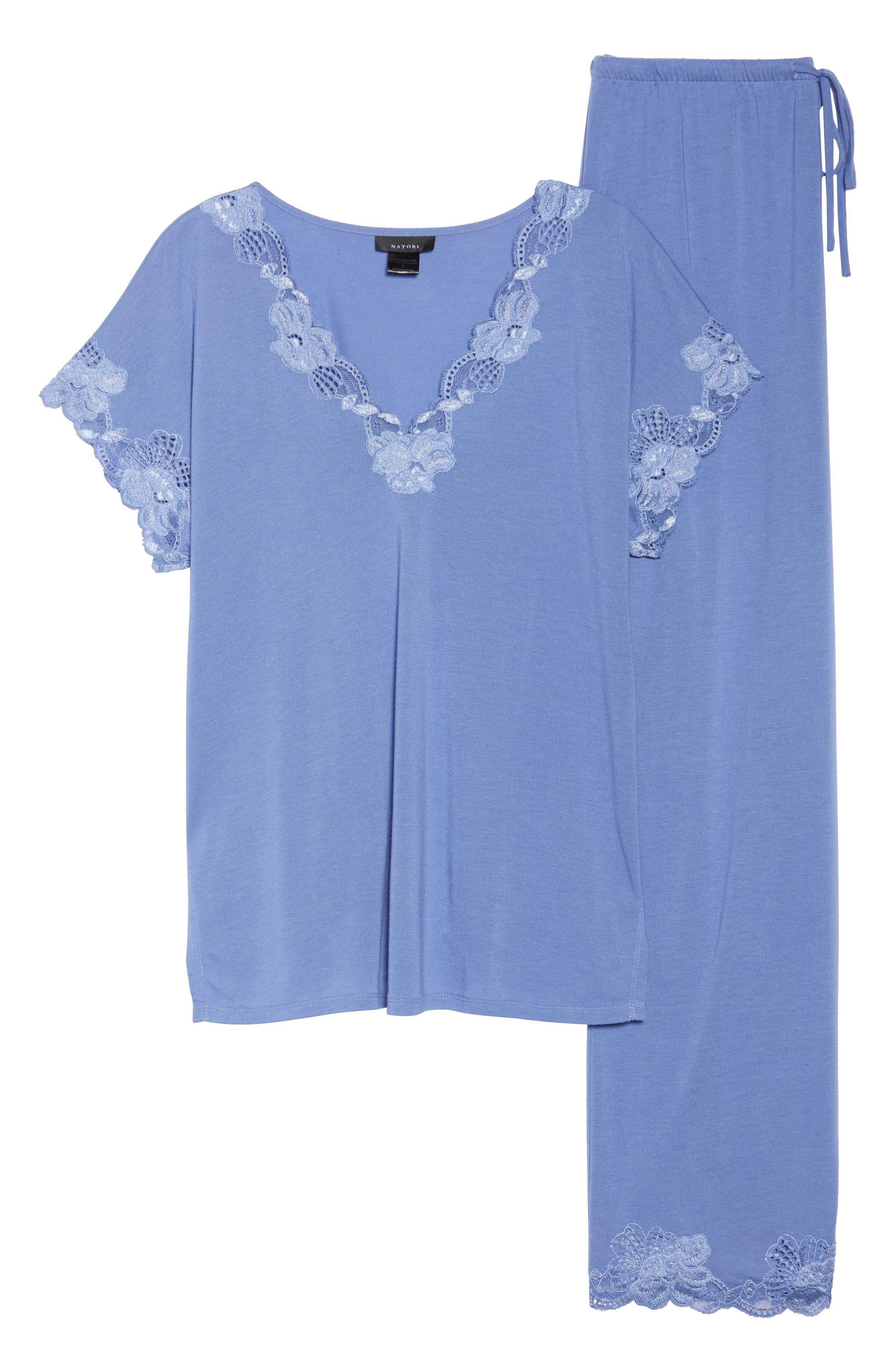 'Zen Floral' Pajama Set,                             Alternate thumbnail 4, color,                             Wedgewood