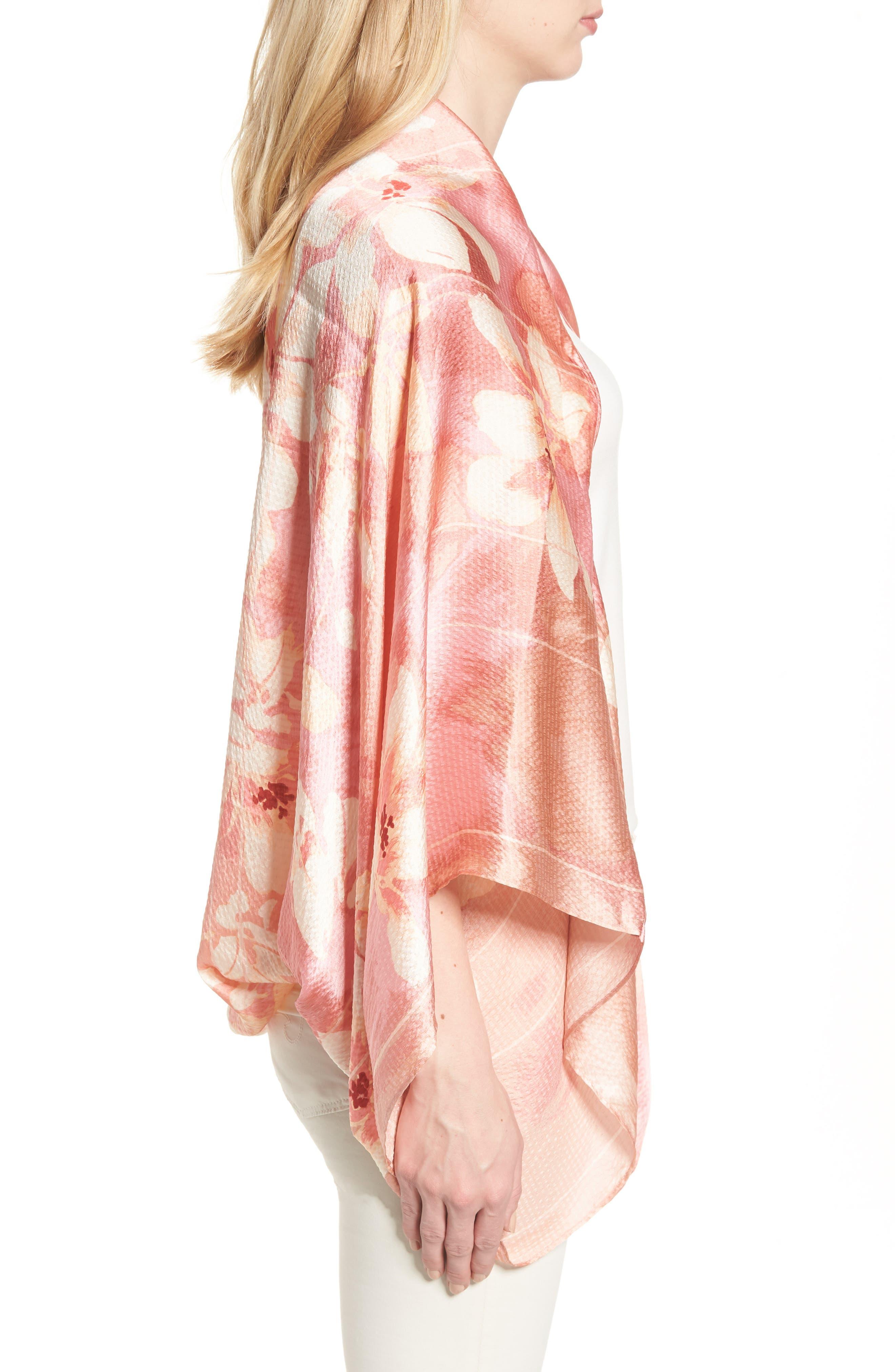 Silk Shrug Kimono,                             Alternate thumbnail 3, color,                             Pink Jardin Secret