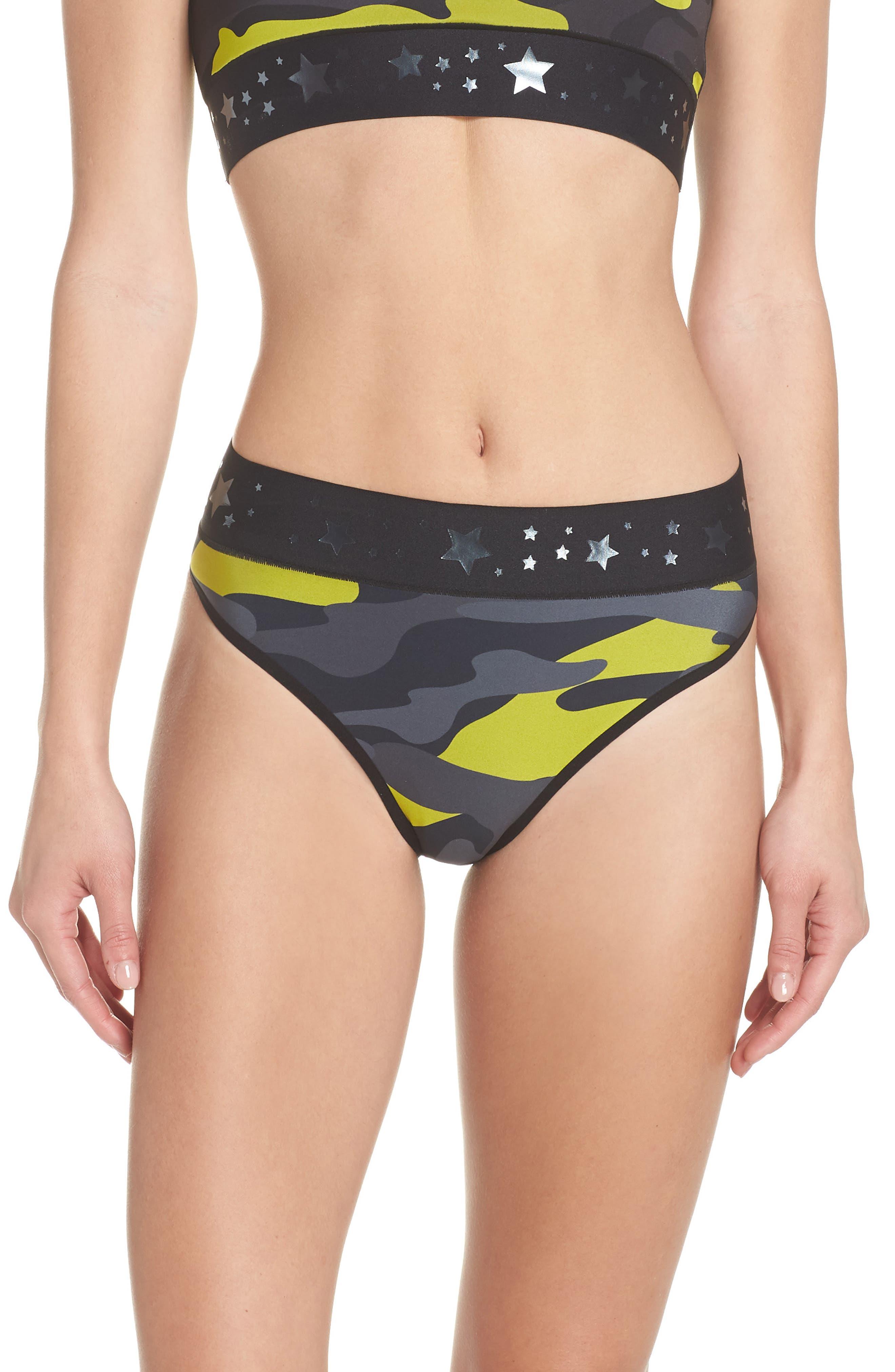 Argon Camo High Waist Bikini Bottoms,                             Main thumbnail 1, color,                             Chartreuse Gunmetal