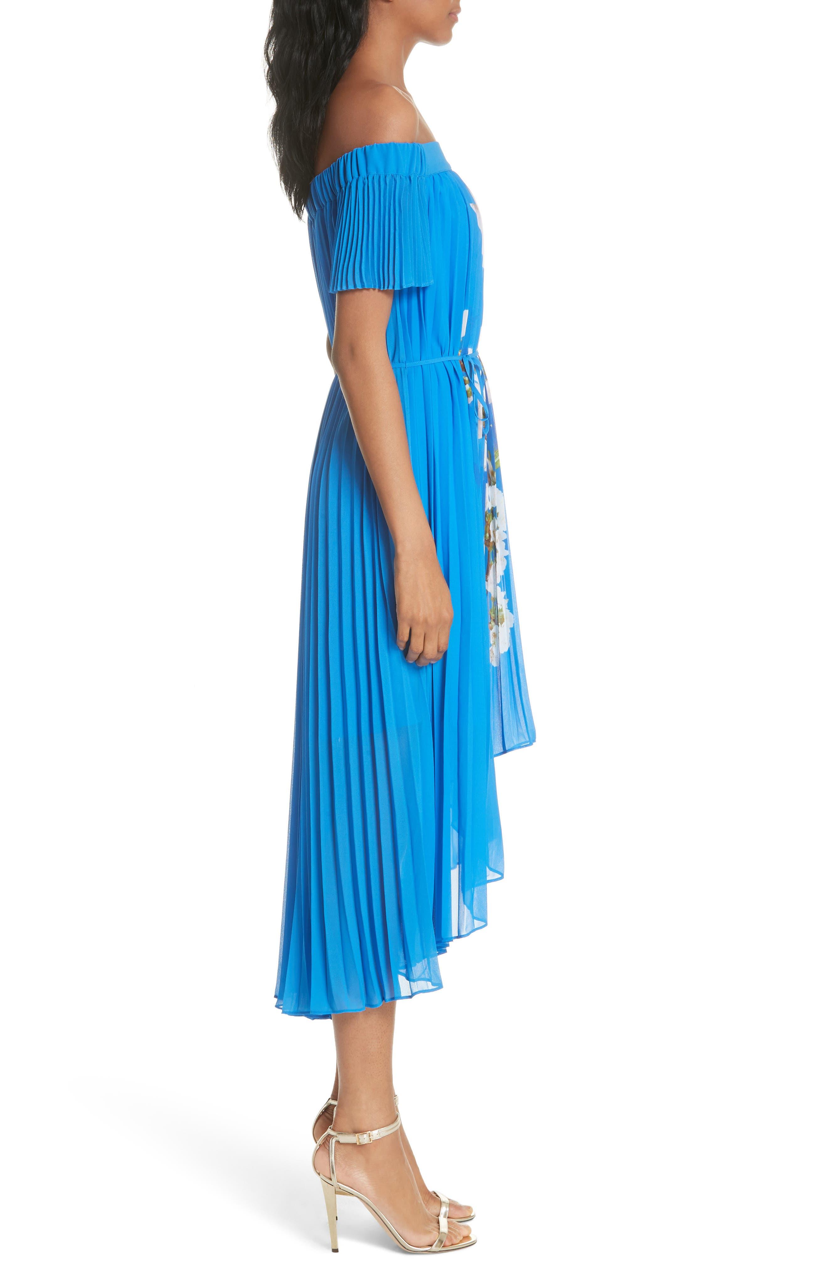 Harmony Pleat High/Low Dress,                             Alternate thumbnail 3, color,                             Bright Blue
