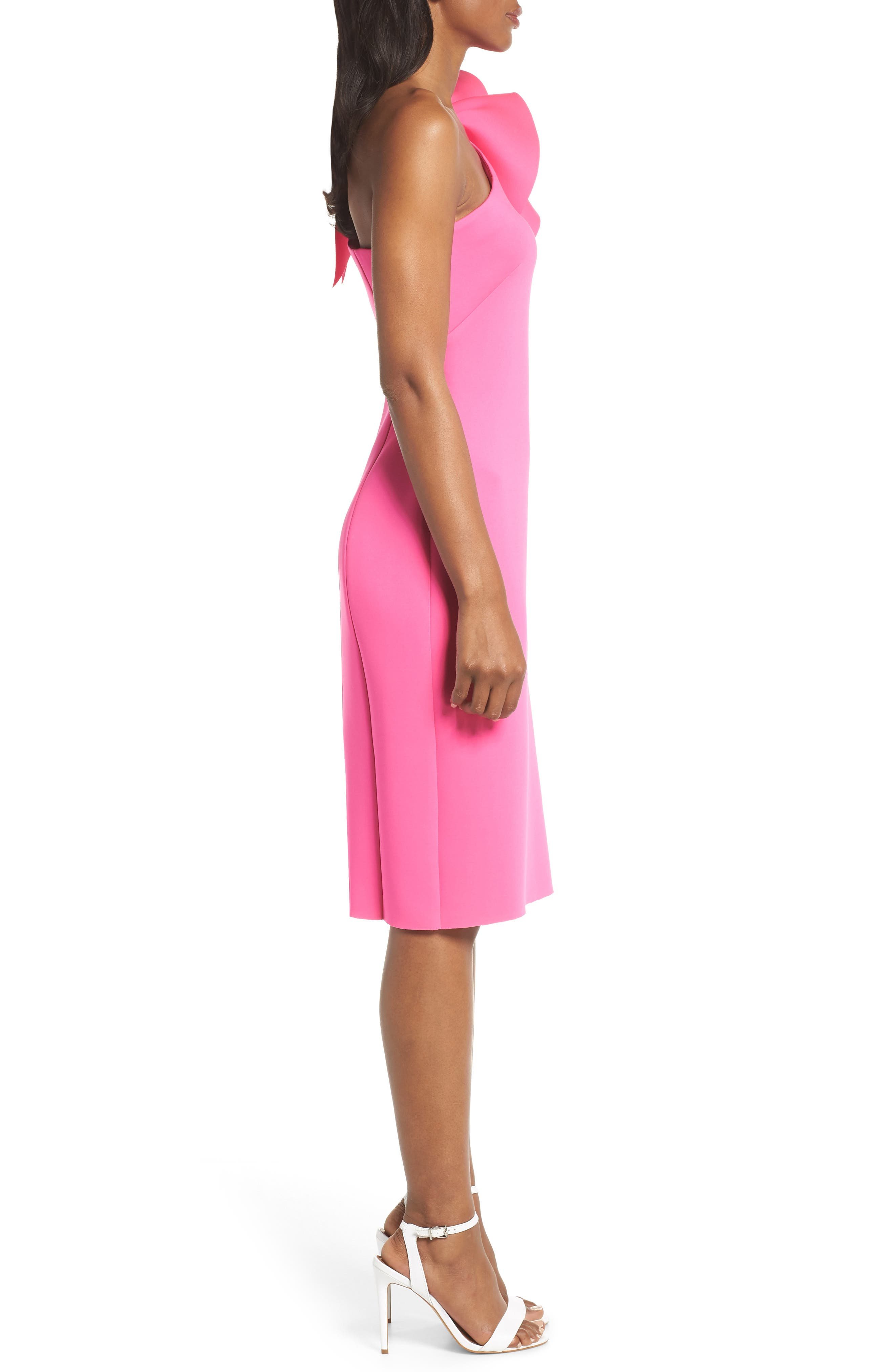 One-Shoulder Ruffle Sheath Dress,                             Alternate thumbnail 3, color,                             Hot Pink