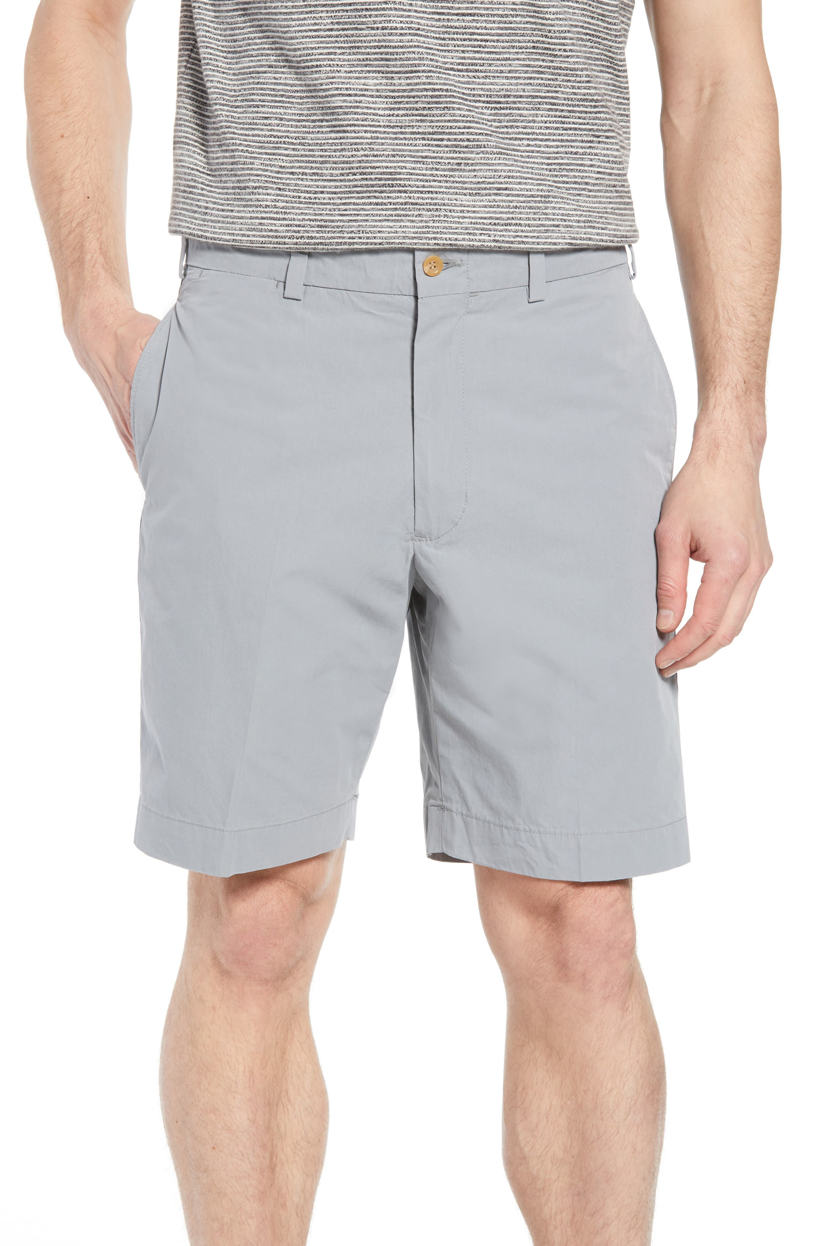 M2 Classic Fit Flat Front Tropical Cotton Poplin Shorts,                         Main,                         color, Nickel