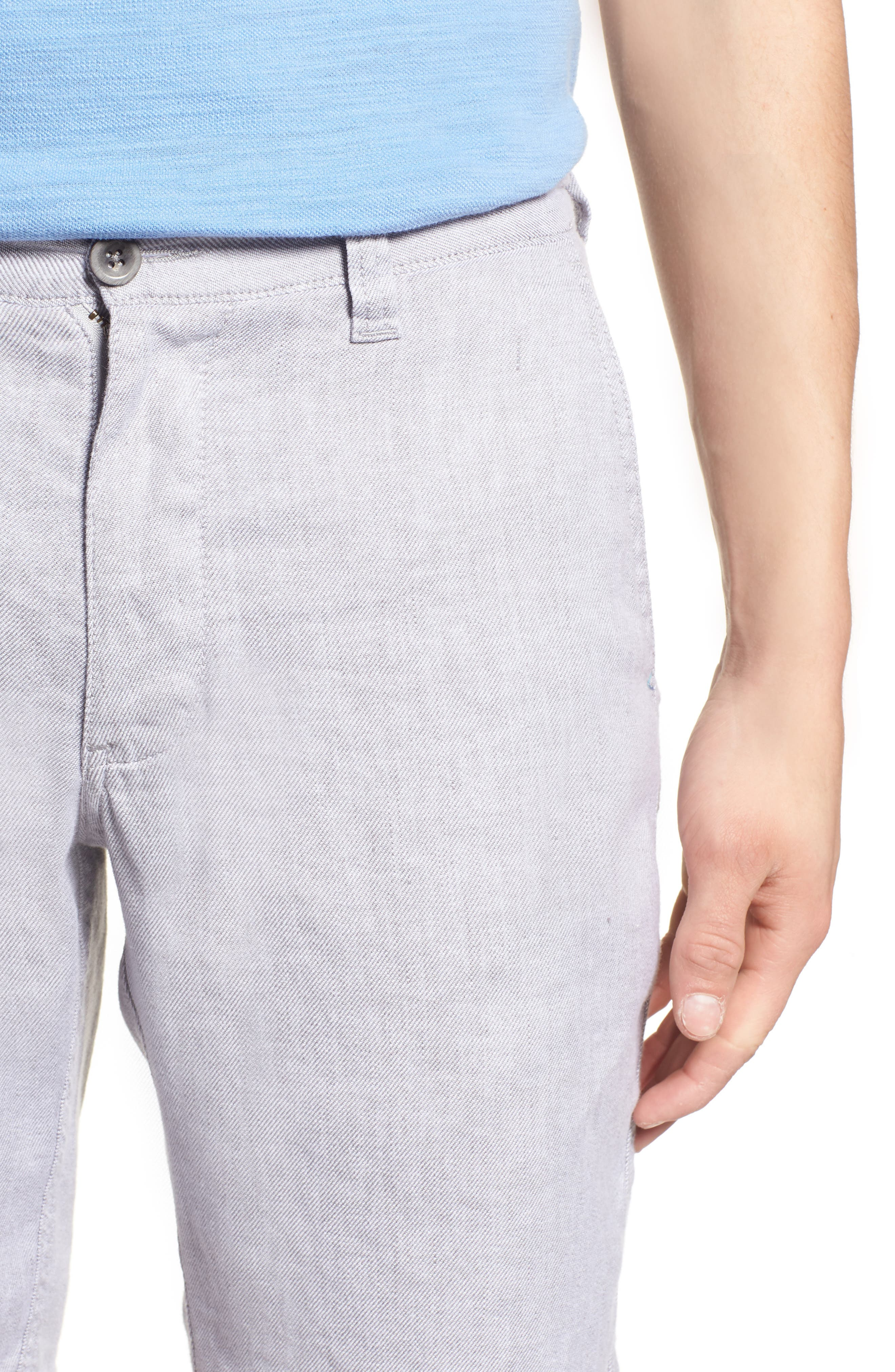 Beach Linen Blend Shorts,                             Alternate thumbnail 4, color,                             Storm Gray