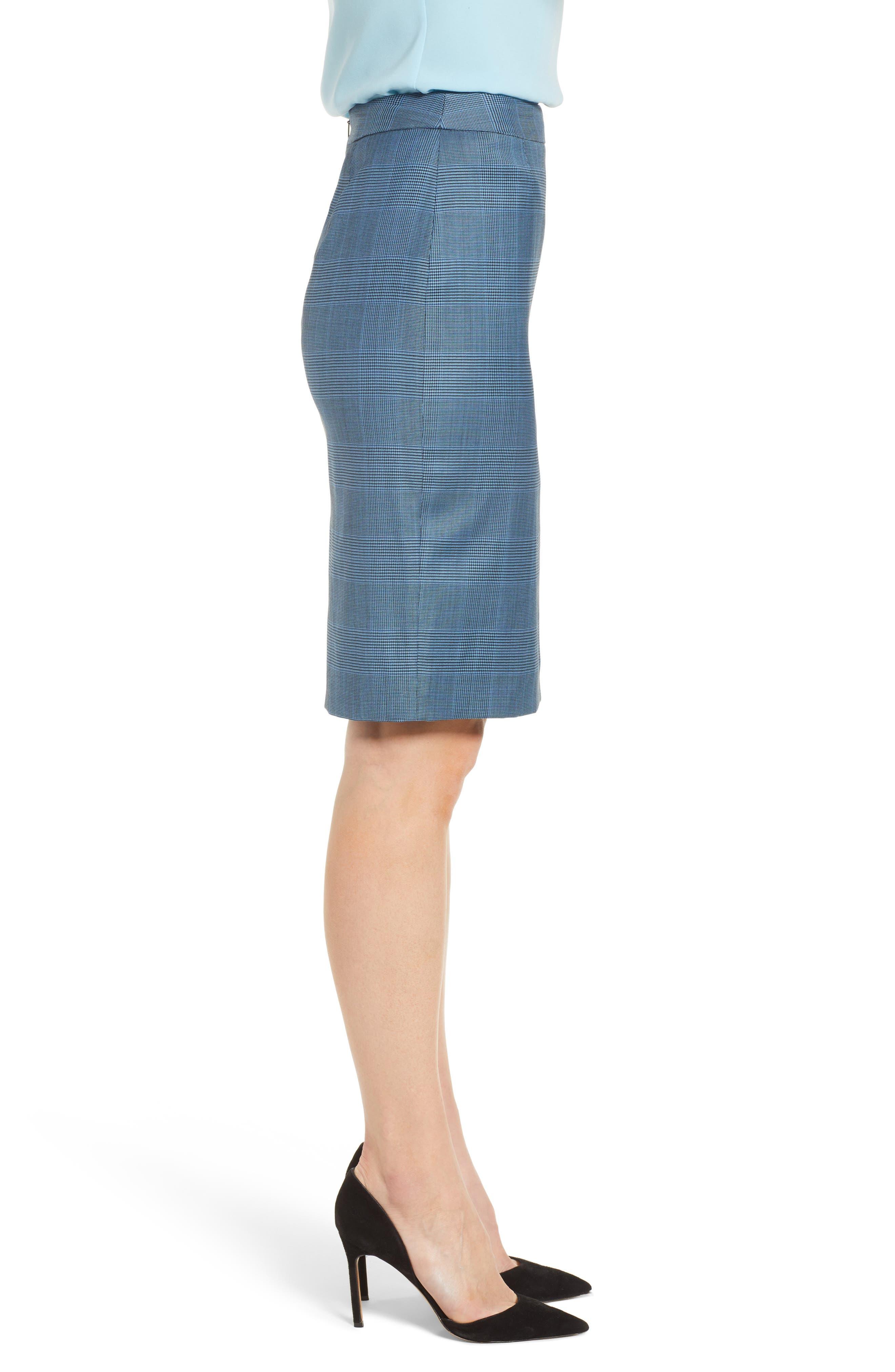 Vimena Glencheck Stretch Wool Pencil Skirt,                             Alternate thumbnail 3, color,                             Sailor Blue Fantasy
