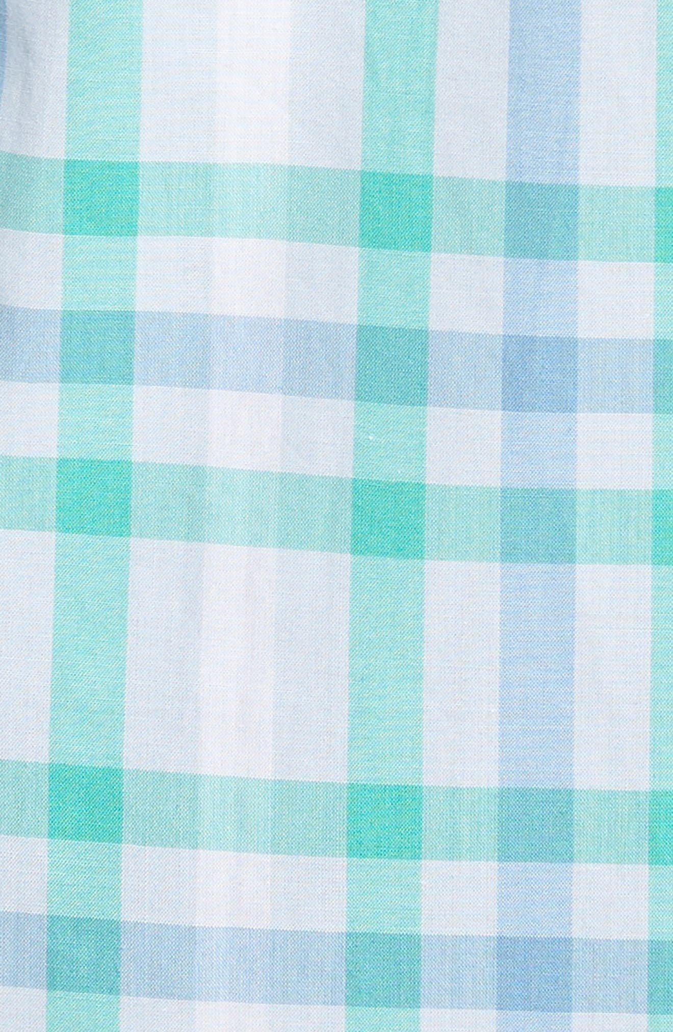 Slim Fit Check Sport Shirt,                             Alternate thumbnail 5, color,                             Turquoise