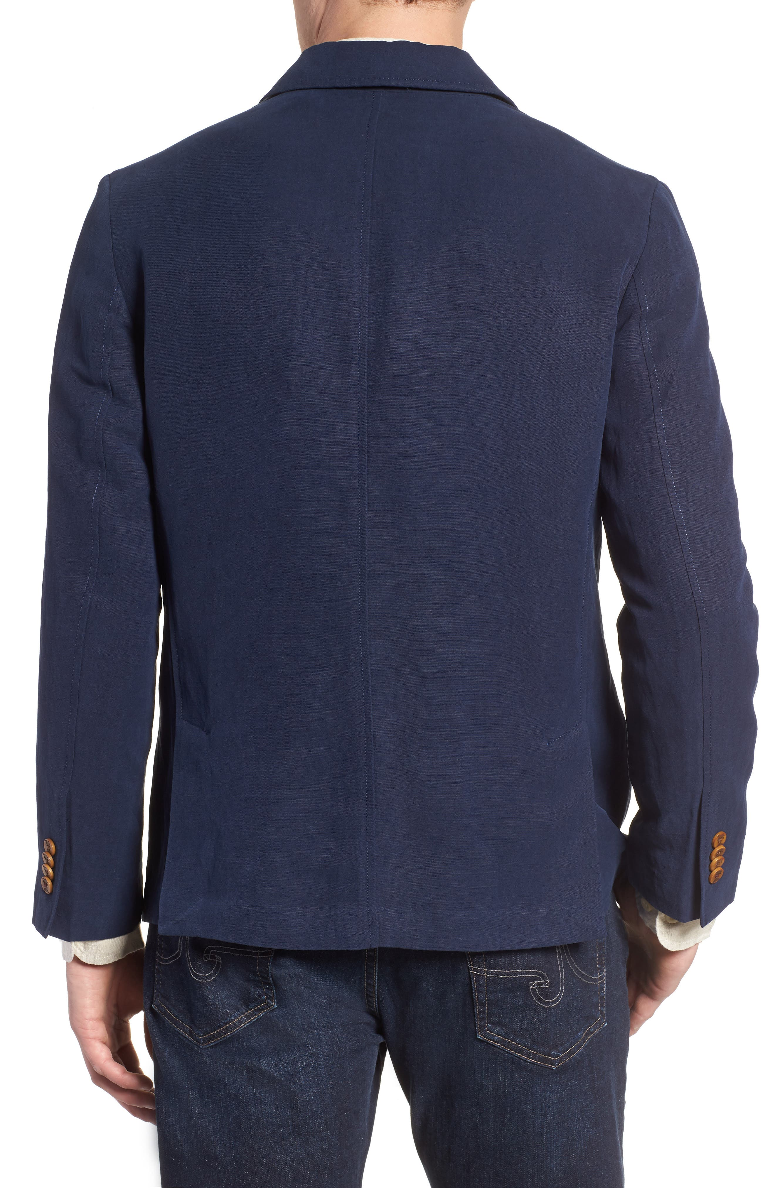 Monterey Silk & Linen Blazer,                             Alternate thumbnail 2, color,                             Ocean Deep