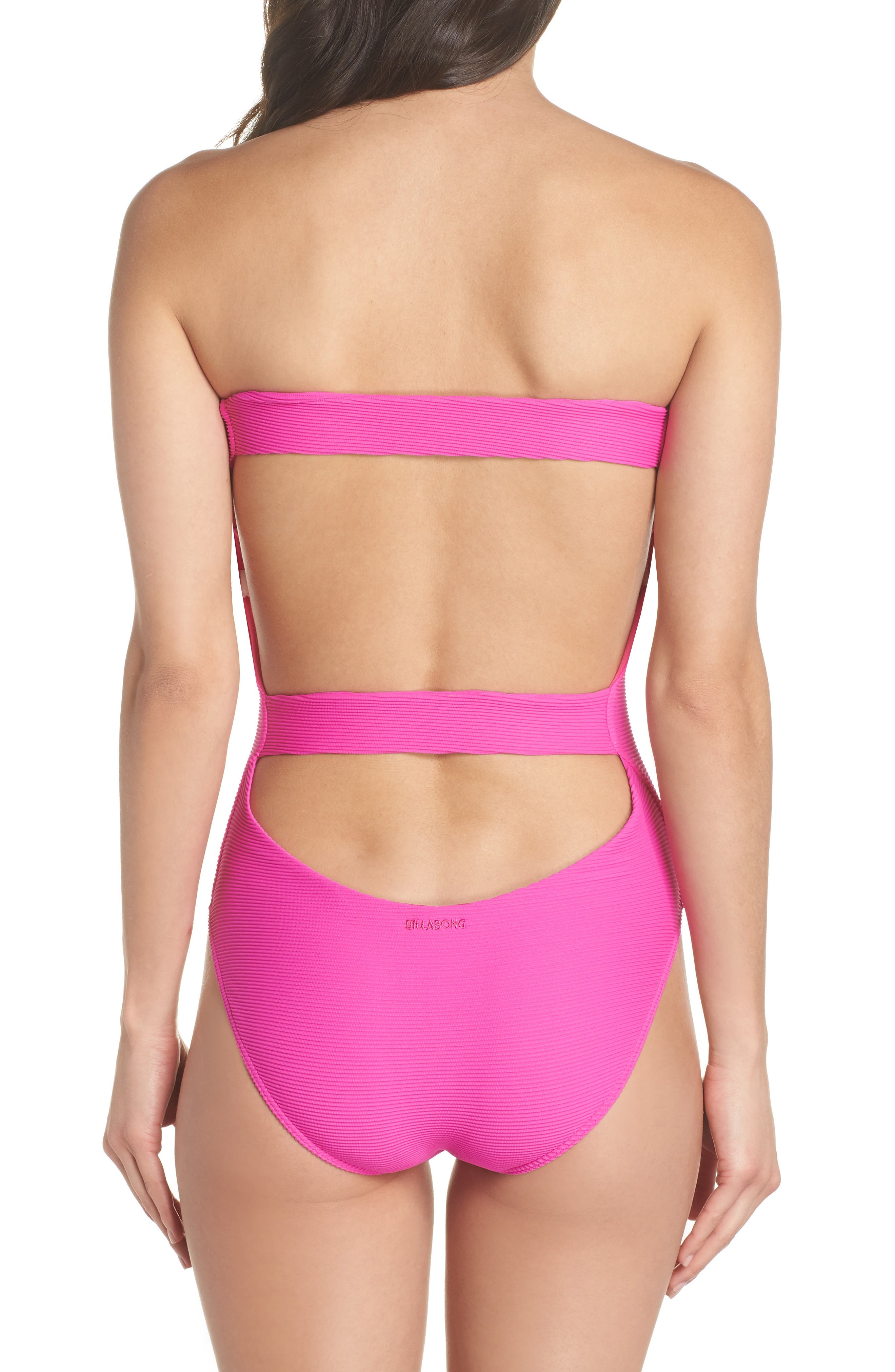 Tanlines Strapless One-Piece Swimsuit,                             Alternate thumbnail 2, color,                             Rebel Pink